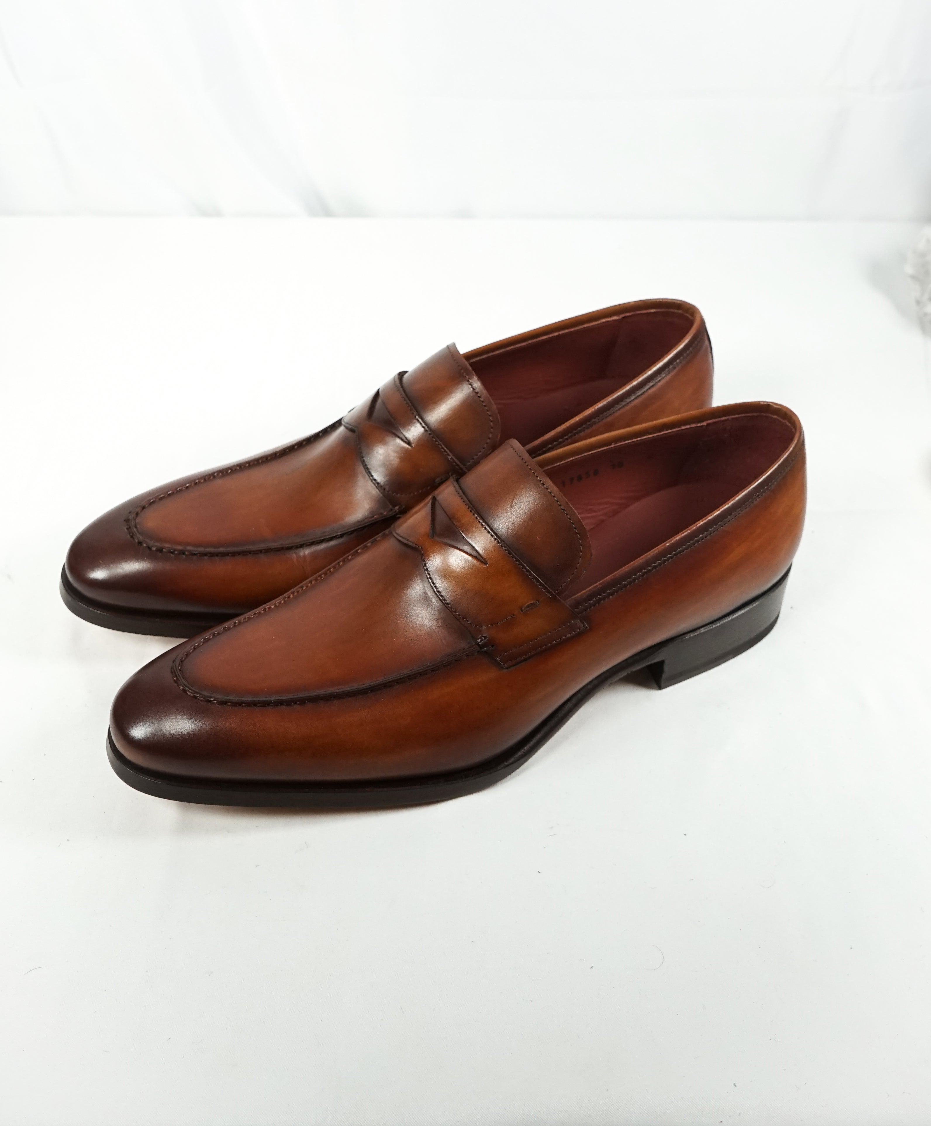 MAGNANNI - Hand Made & Patina Penny Loafers - 10