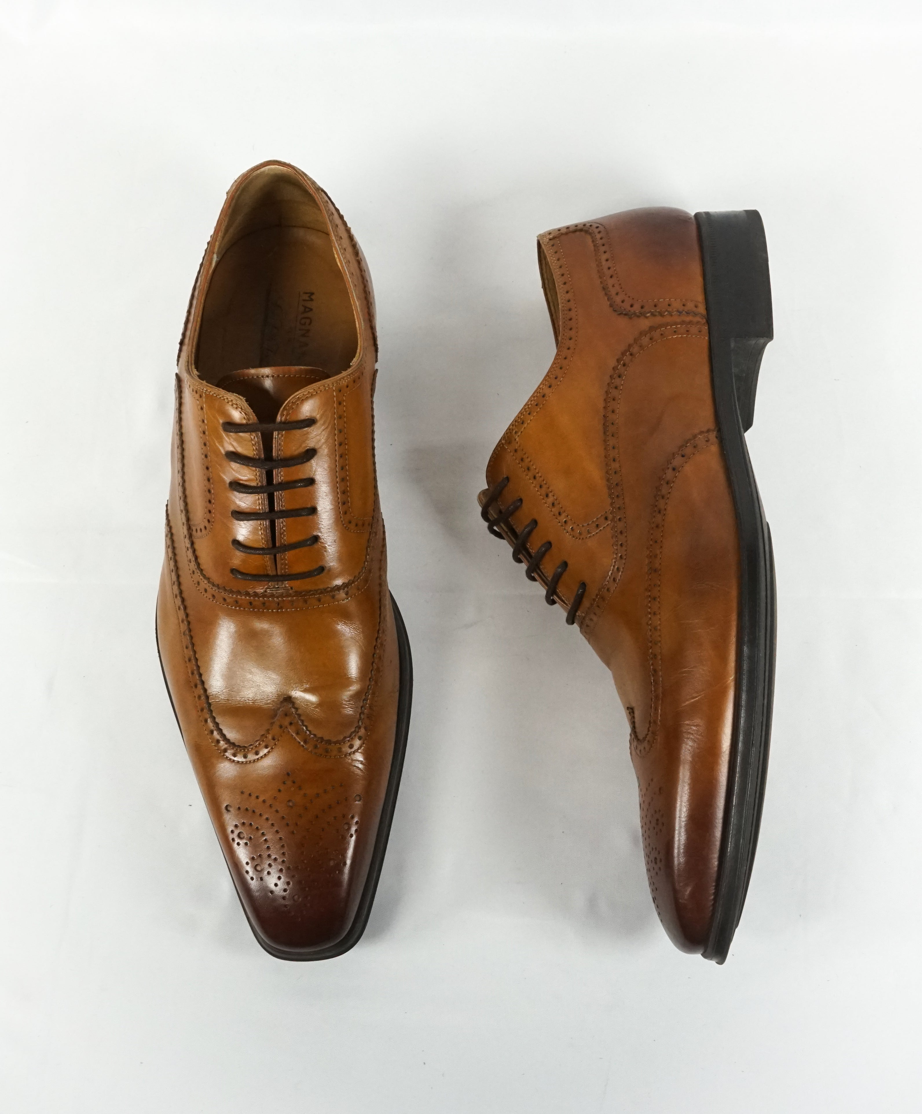 MAGNANNI - Brown Burnt Tips Wingtip Brogue Oxfords - 11.5