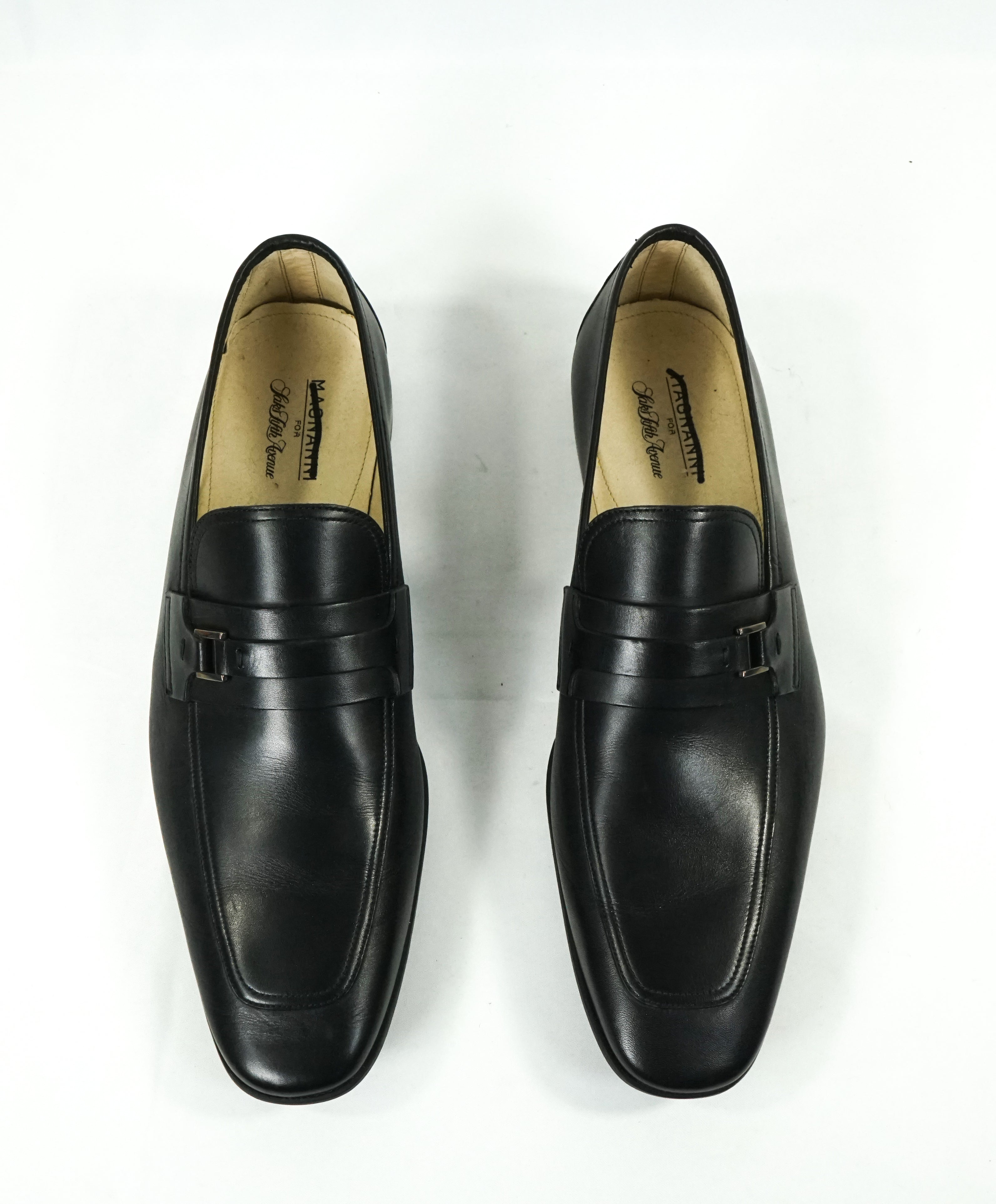 MAGNANNI - Smooth Black Bit Leather Loafers W Rubber Sole - 9.5