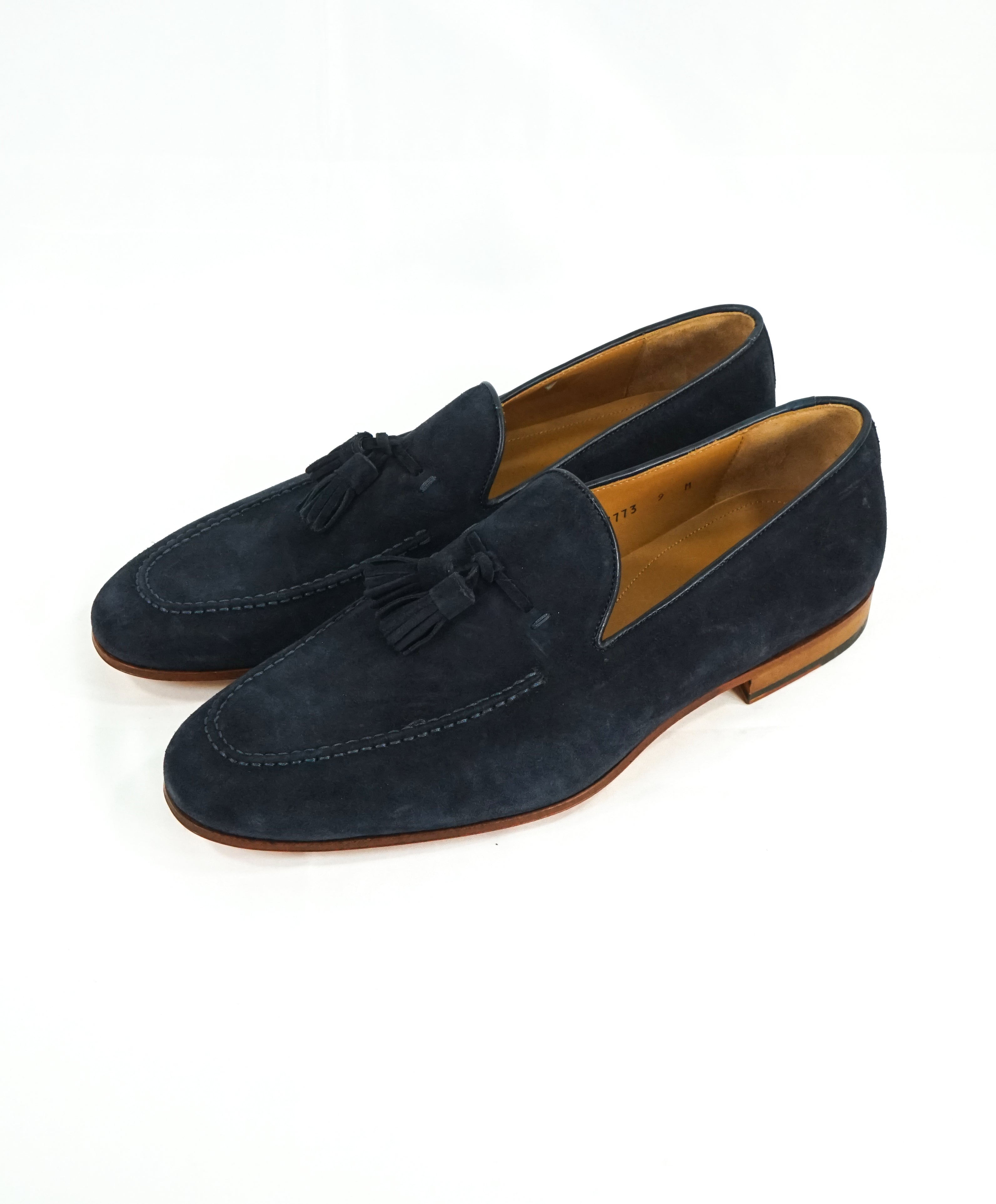 MAGNANNI For SAKS FIFTH AVENUE - Blue Contrast Sole Tassel Loafers - 9