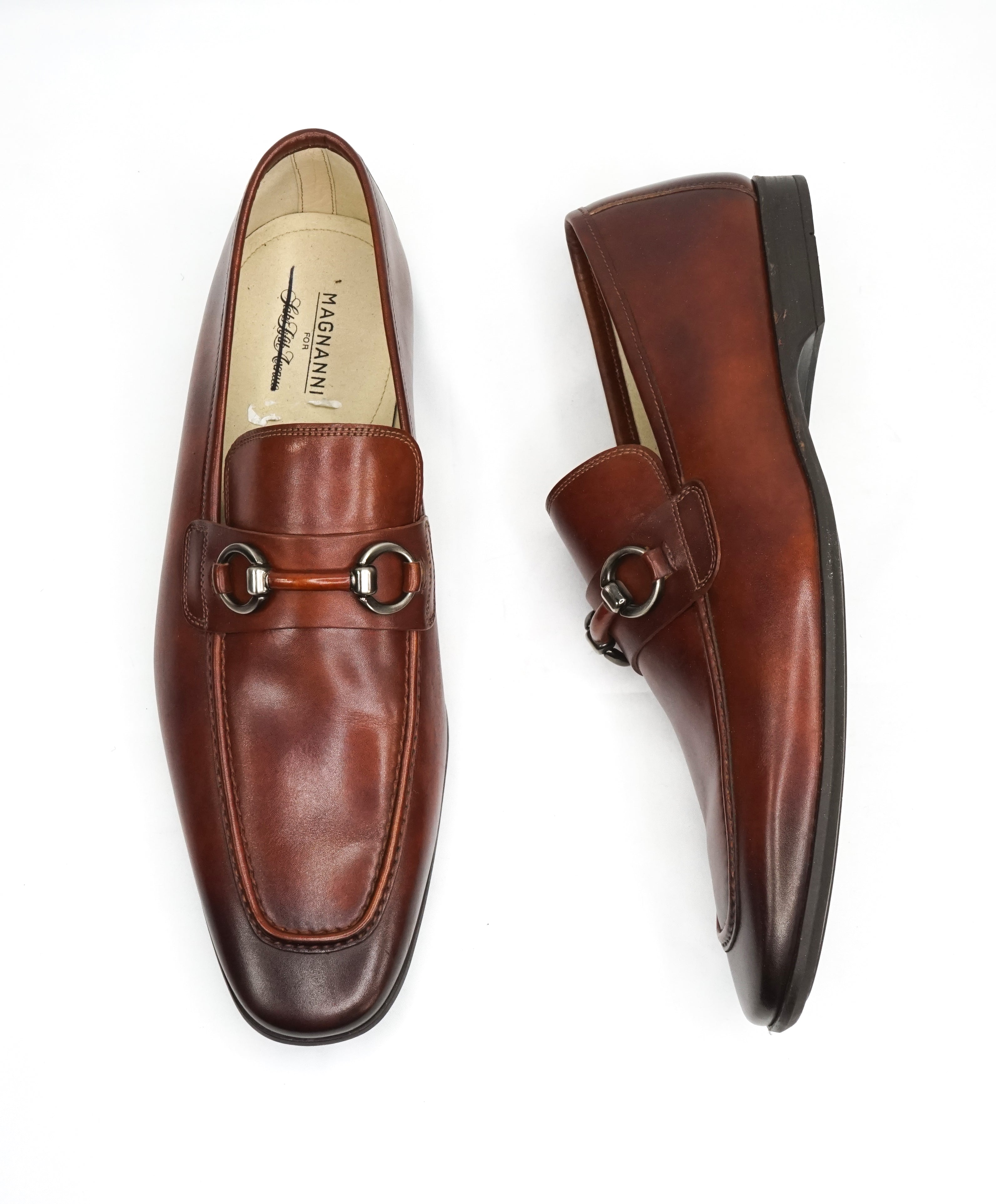 "MAGNANNI - ""Smooth"" Brown Bit Leather Loafers W Rubber Sole - 10.5"