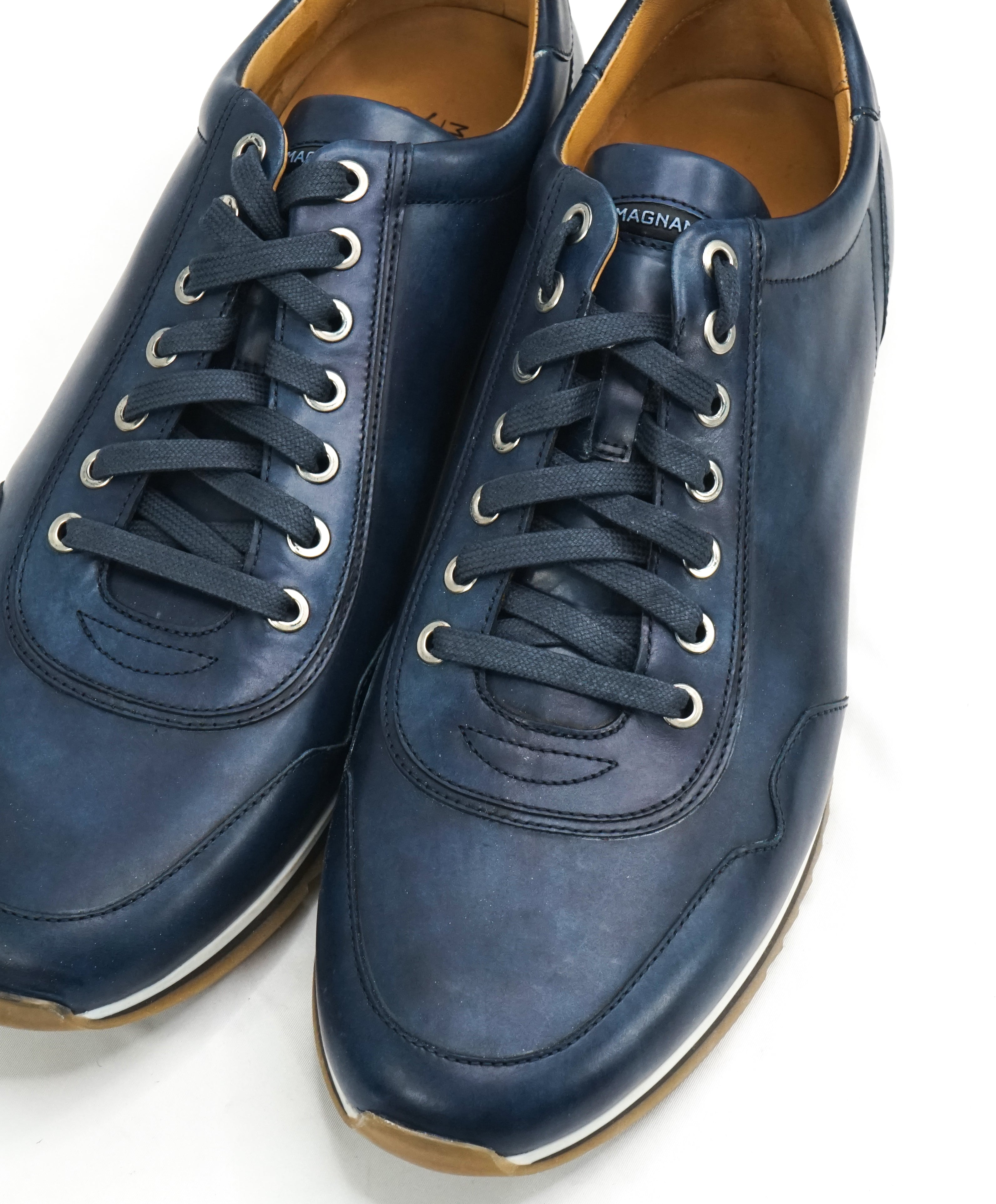 MAGNANNI - Lace Up Blue Patina Leather Sneakers W Rubber Sole - 11