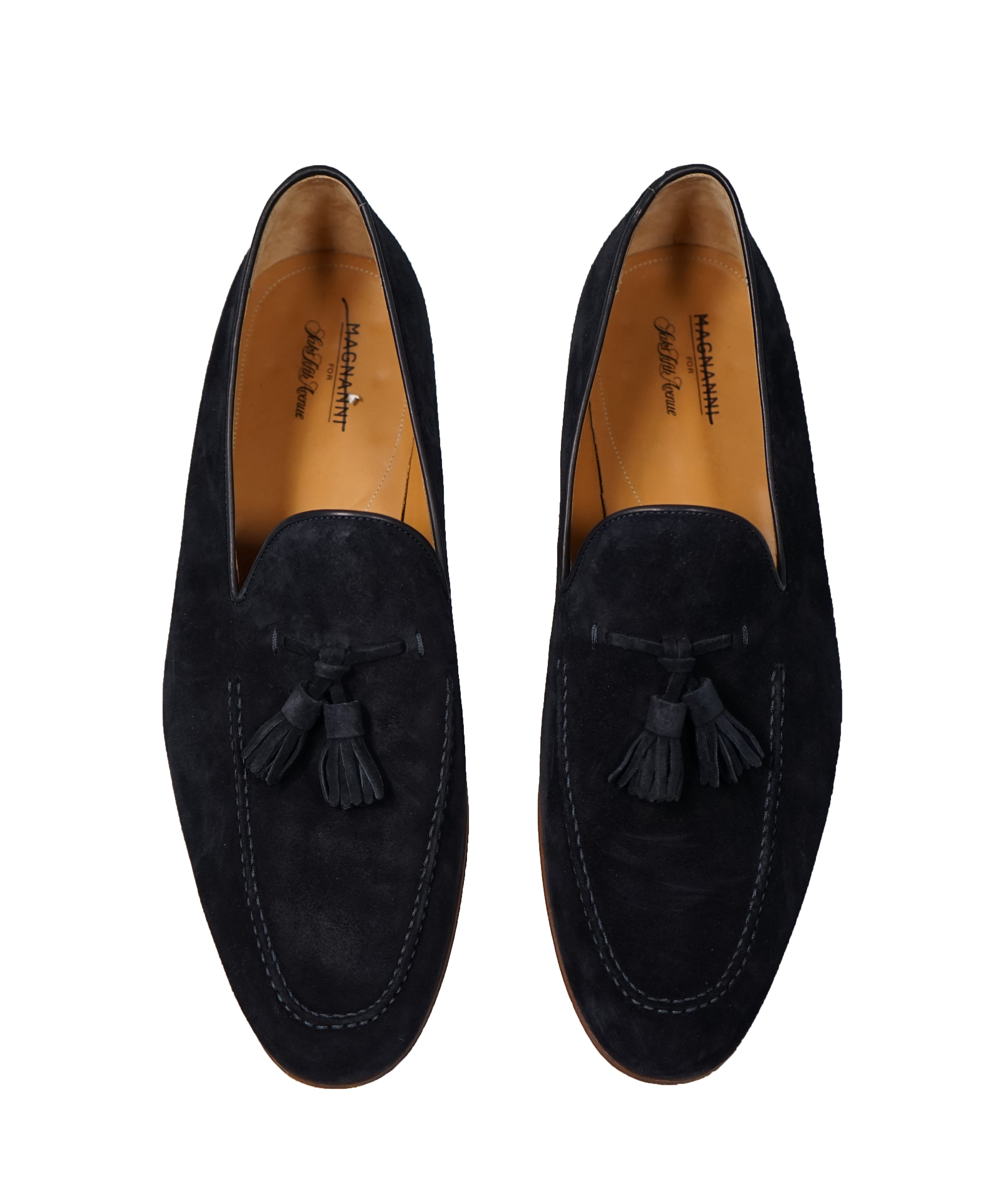 MAGNANNI For SAKS FIFTH AVENUE-Blue Contrast Sole Tassel Loafers - 13