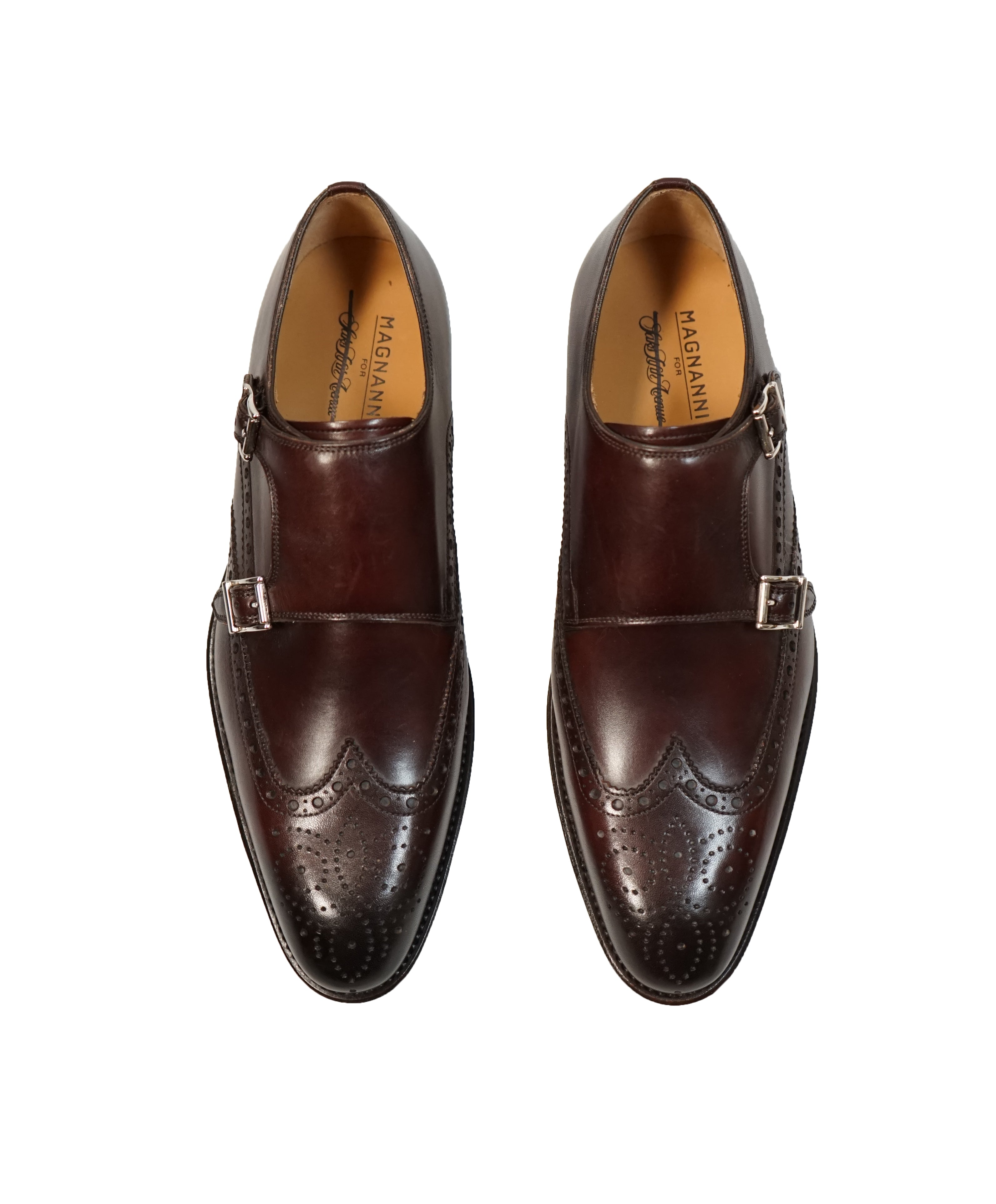 MAGNANNI For SAKS FIFTH AVENUE- Brown Wingtip Brogue Monk Strap Loafers - 7