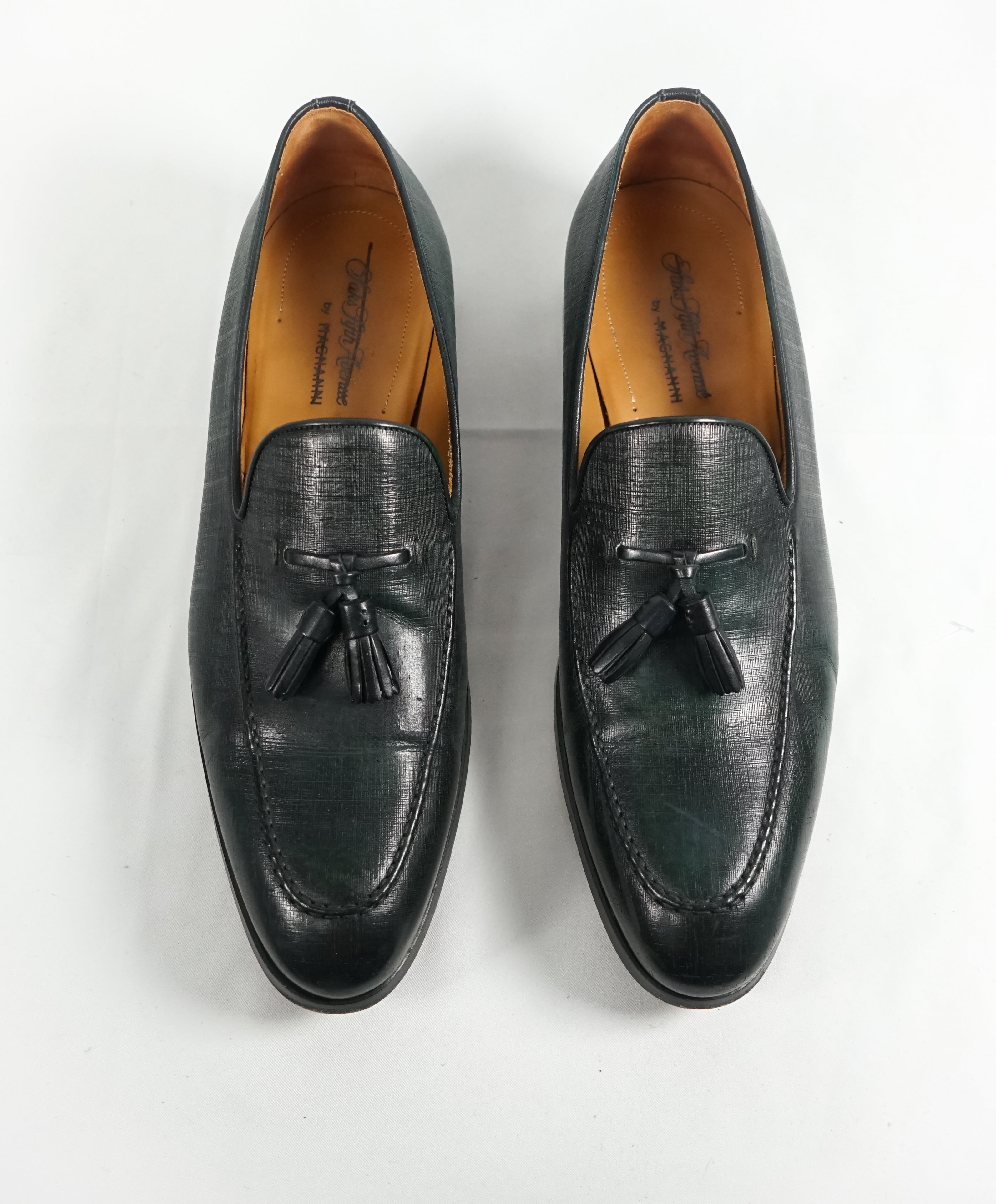 MAGNANNI For SAKS FIFTH AVENUE- Green Saffiano Tassel Loafers - 10