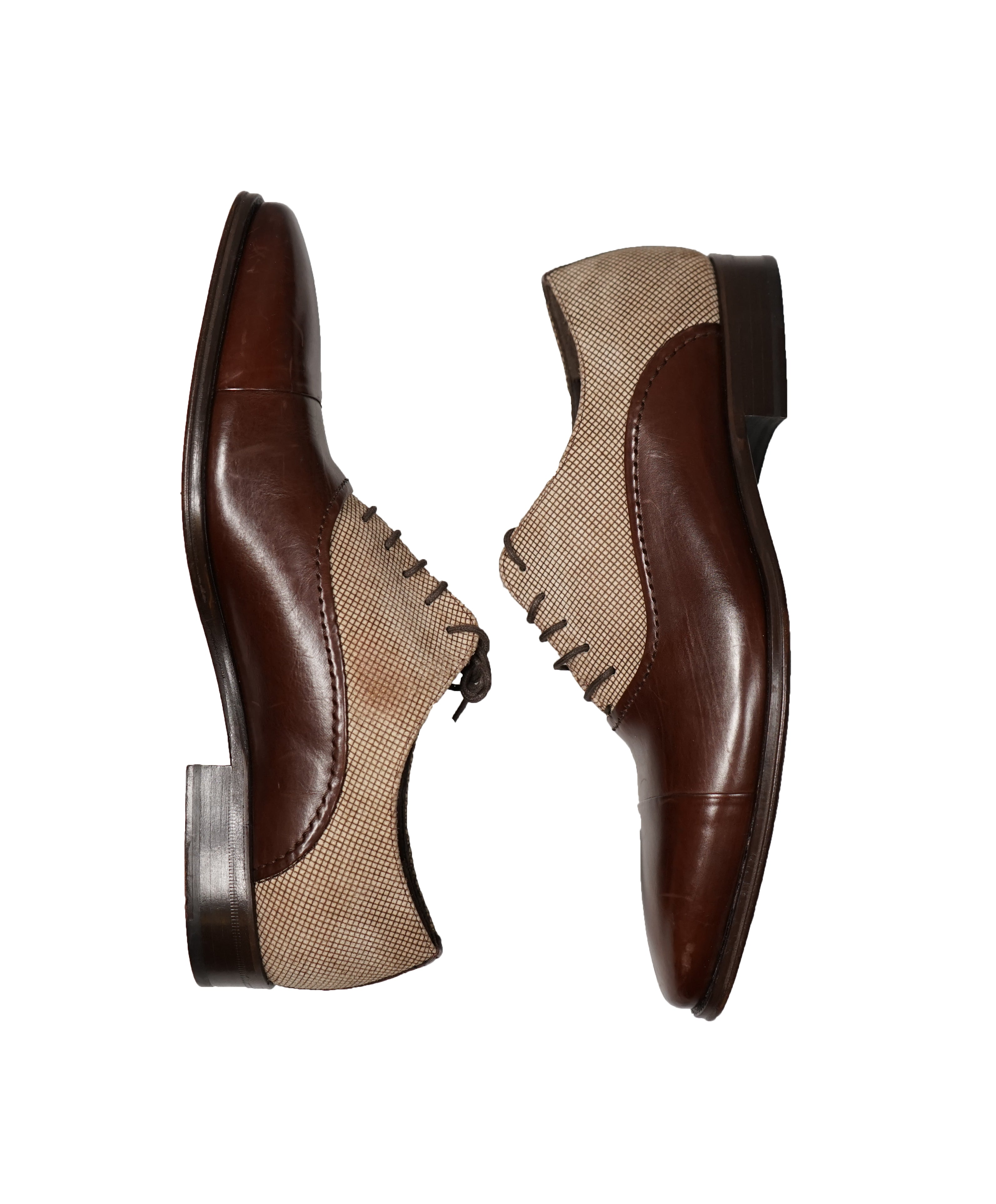 MEZLAN - Cap Toe Oxfords With Suede Check Detail - 8 (M)