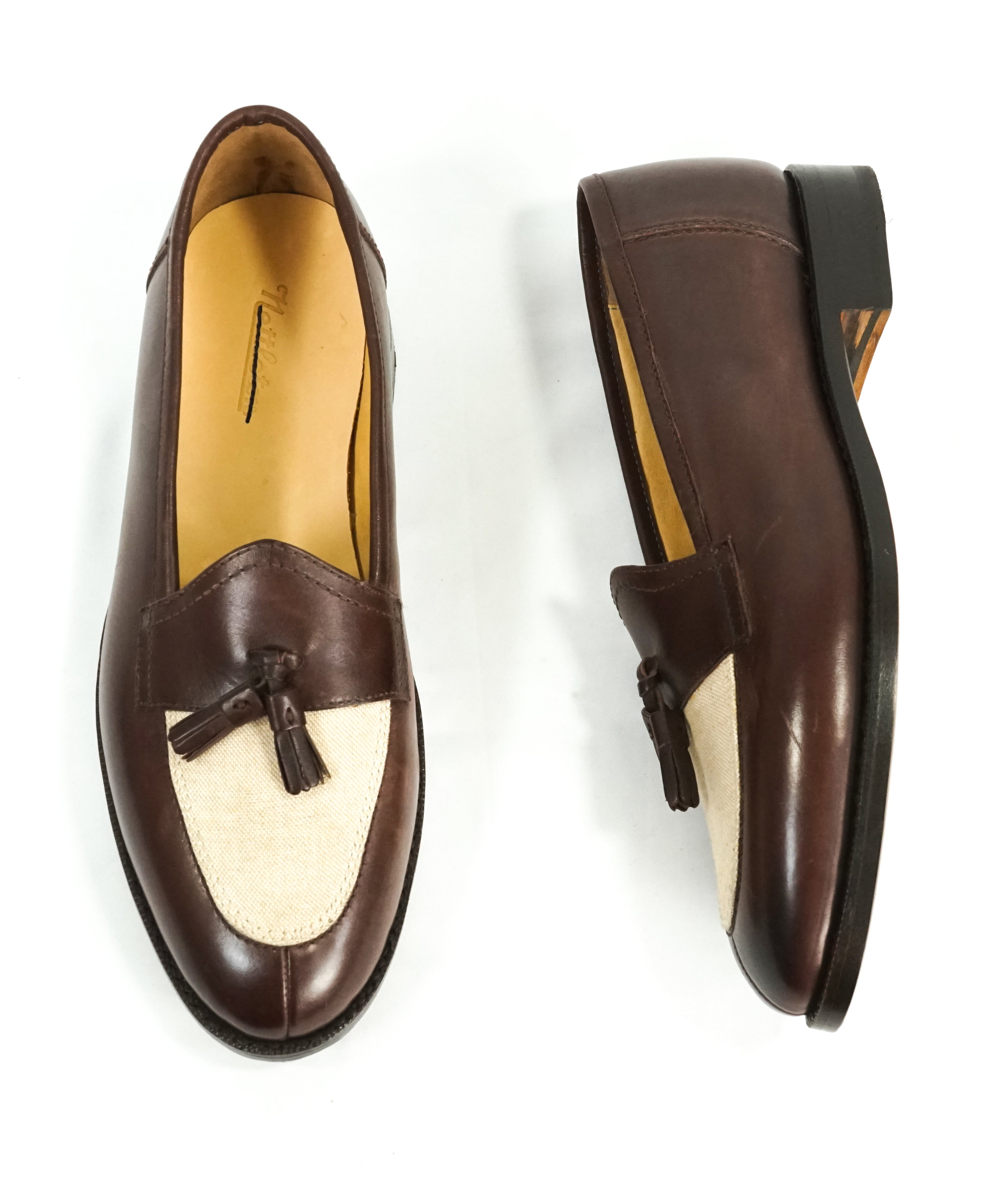 "NETTLETON - ""King Street"" Leather Tassel Loafers Brown Hand Made In England - 9"