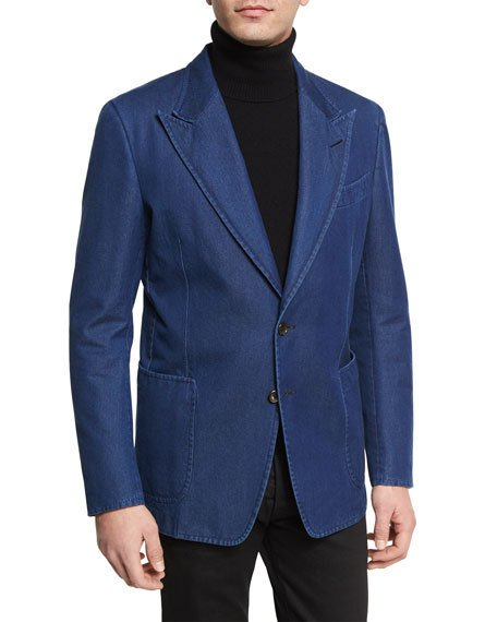 ABC M2- Wide Peak Lapel Made In Italy Denim Tom Ford Style Suit - 42R
