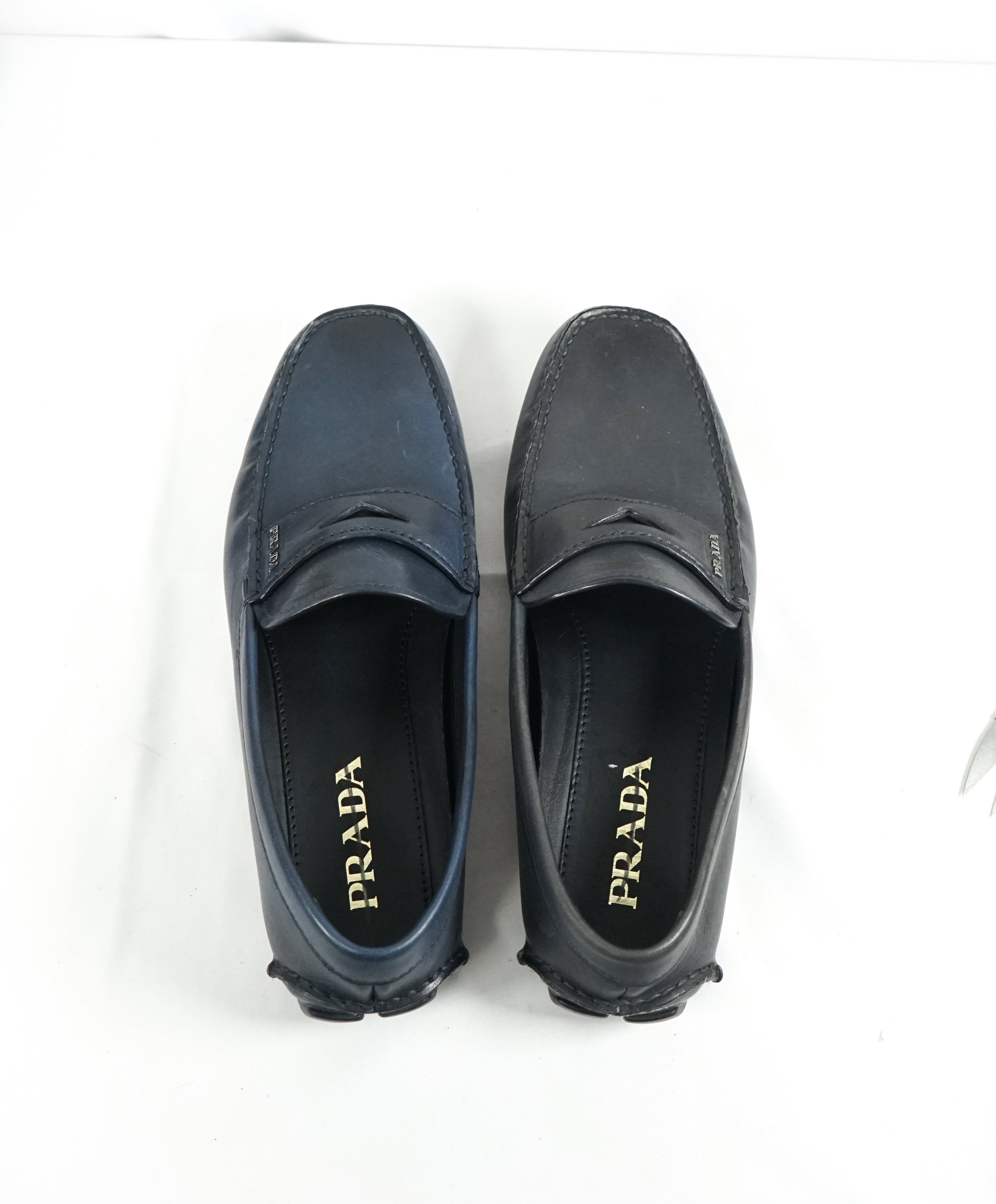 PRADA - Blue Penny Loafers With Silver Logo Lettering - 8