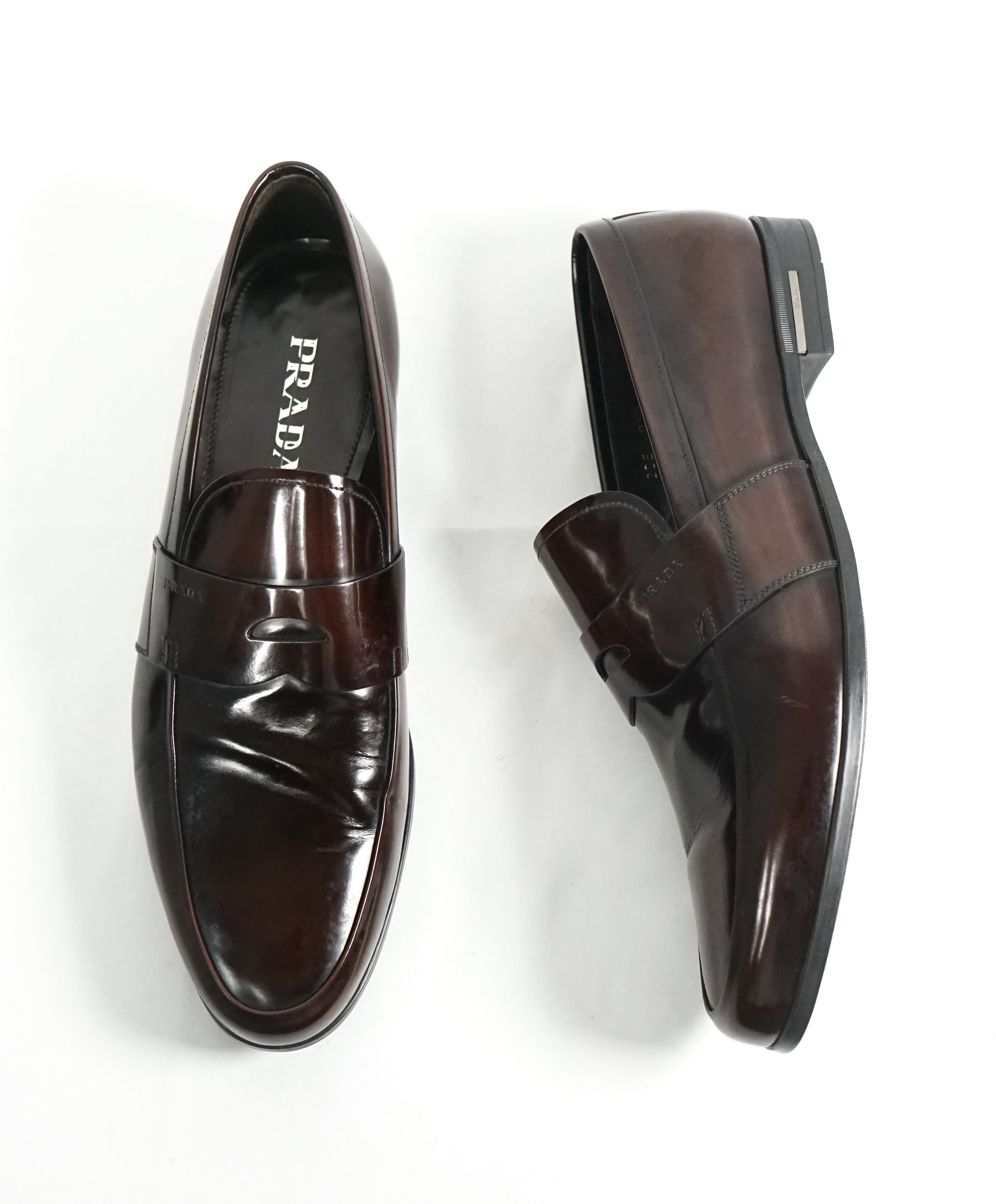 f98cbd81ec57 ... where can i buy prada patent leather brown spazzolato penny loafer with  heel 12 fed7b d4907