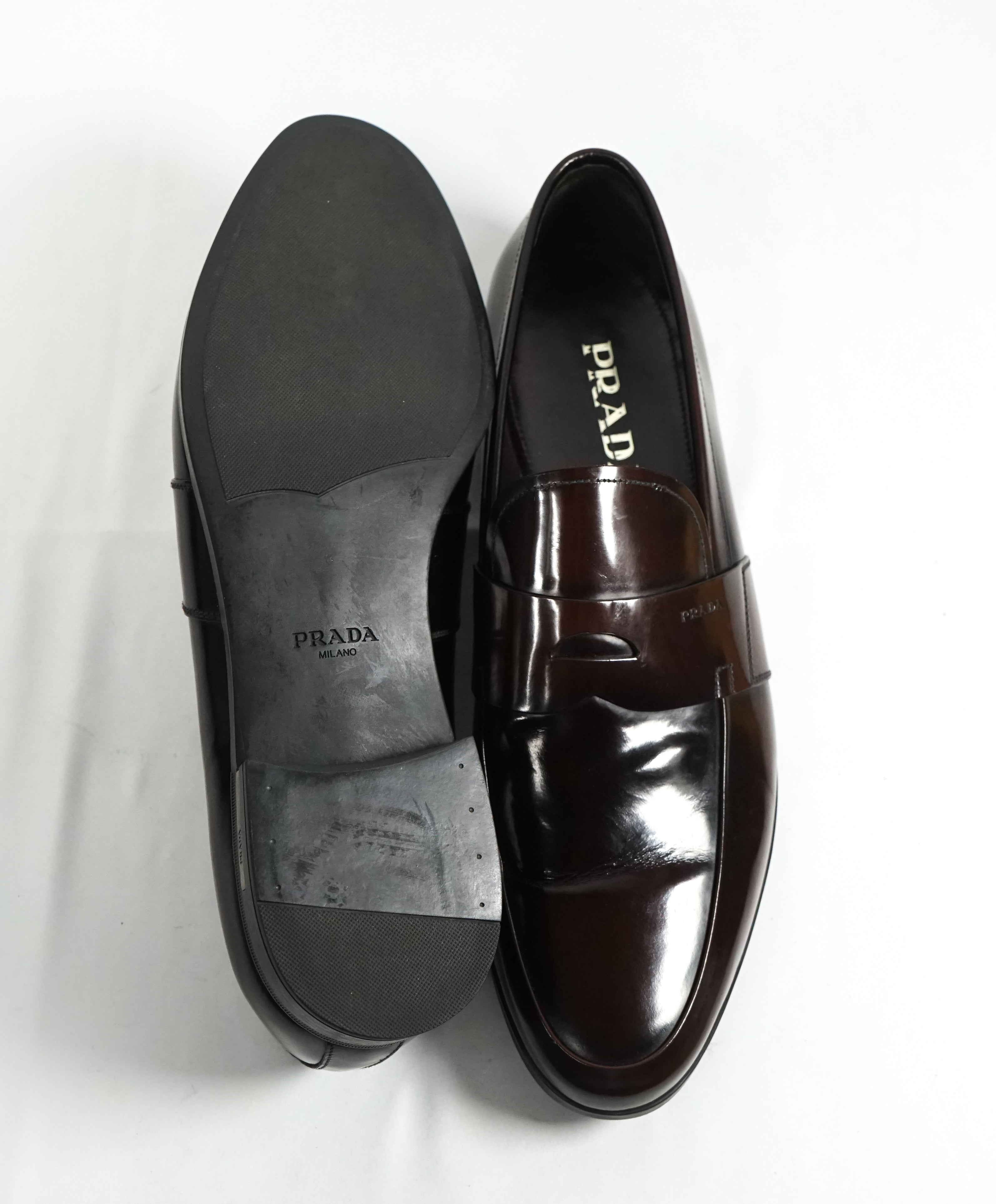 PRADA - Patent Leather Brown Spazzolato Penny Loafer With Heel - 12
