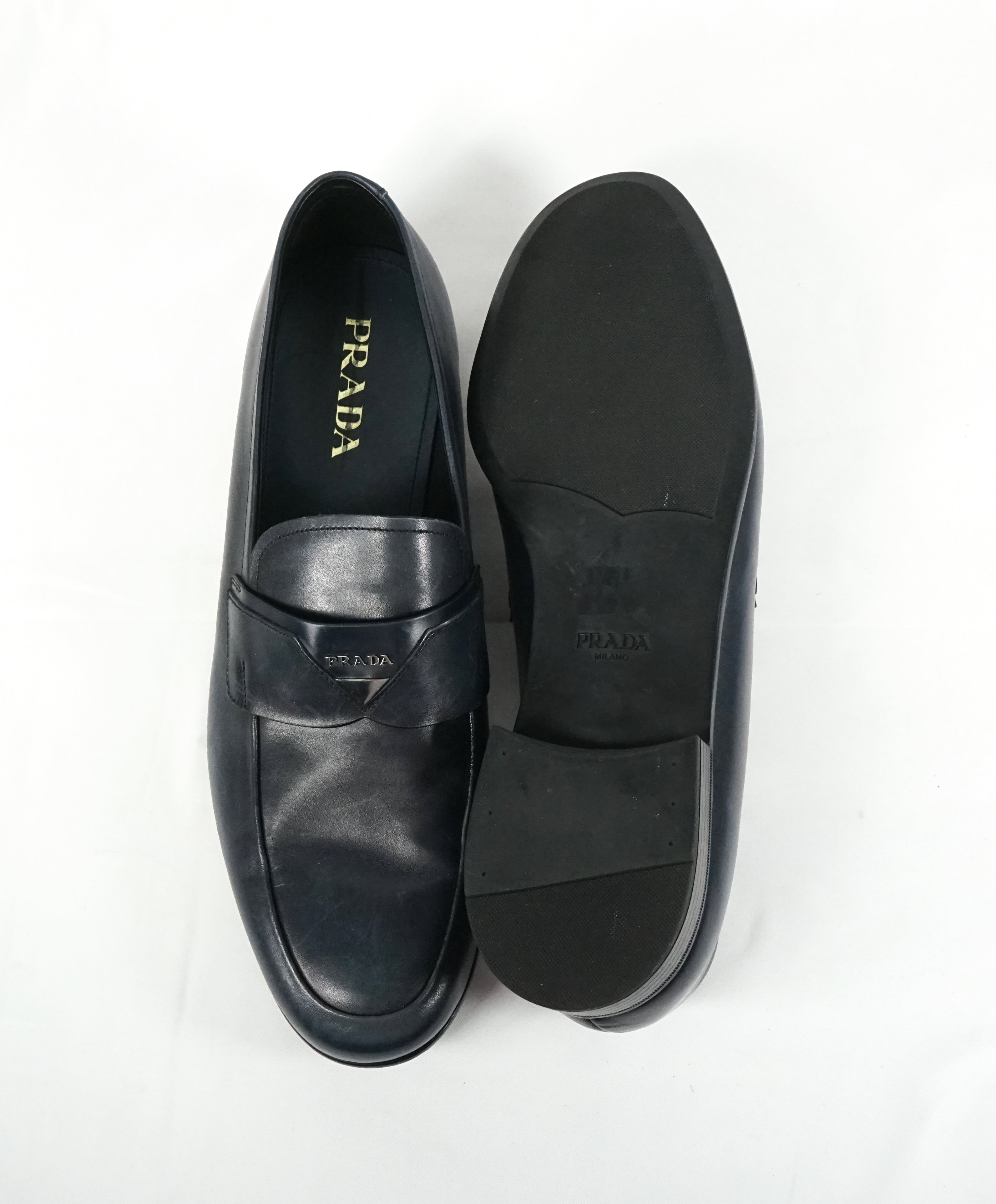 PRADA - Blue Round Toe Loafers With Logo Plaque Strap - 13