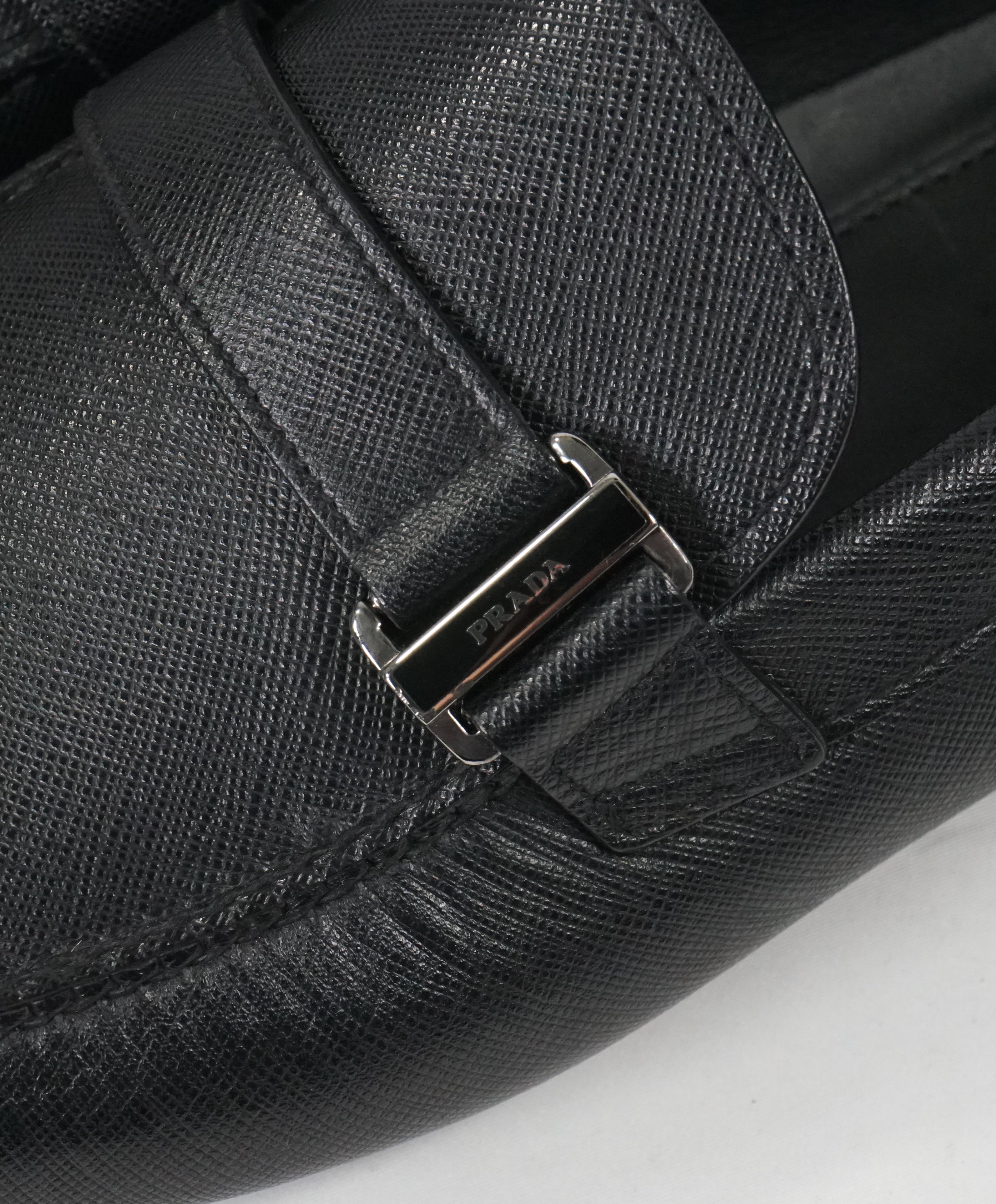 PRADA - Black Side Logo Bit Driving Loafers - 12