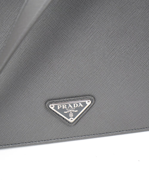 "PRADA - ""BALTICO"" Gray Saffiano Leather Briefcase Bag With Strap -"