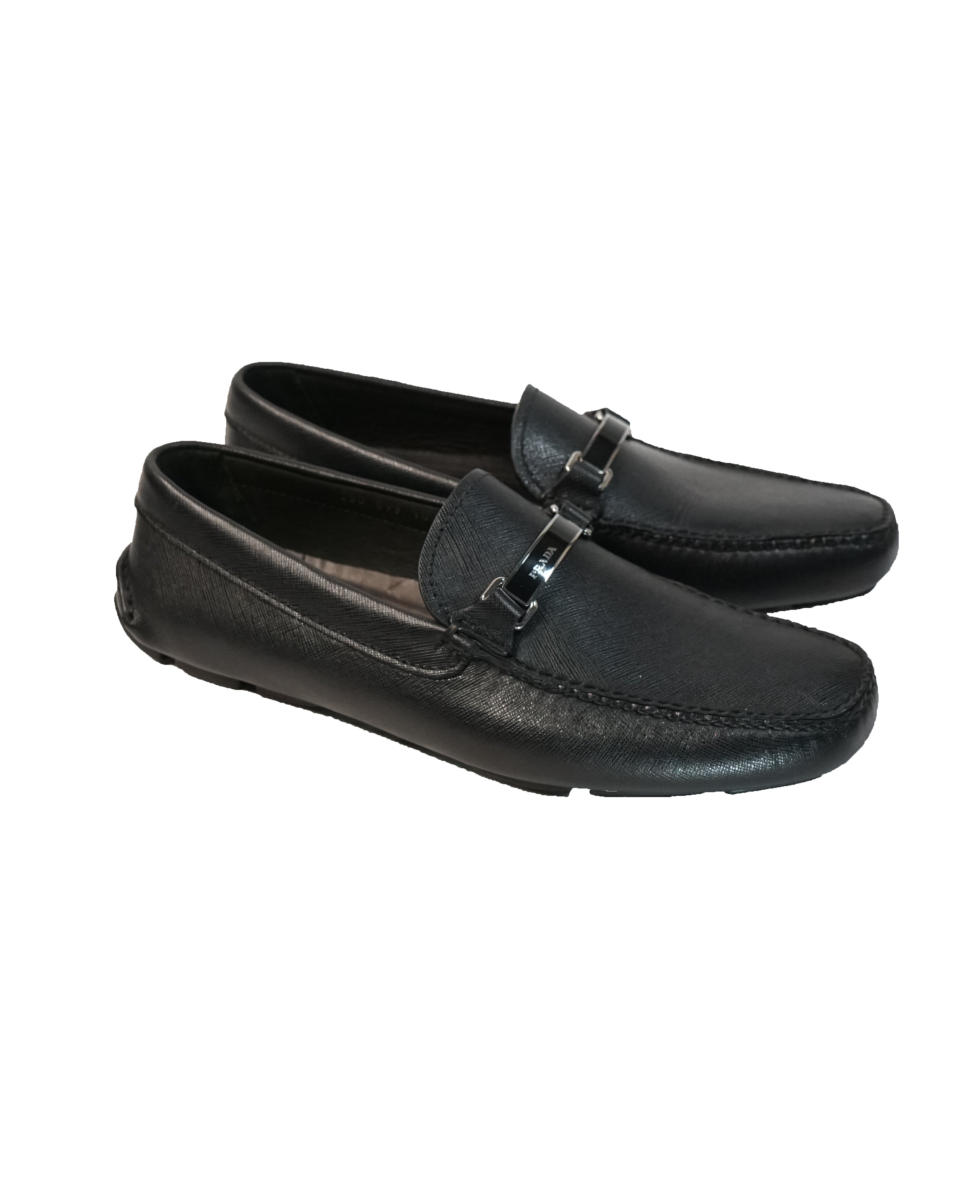 PRADA - Black Logo Bit Driving Loafers - 11