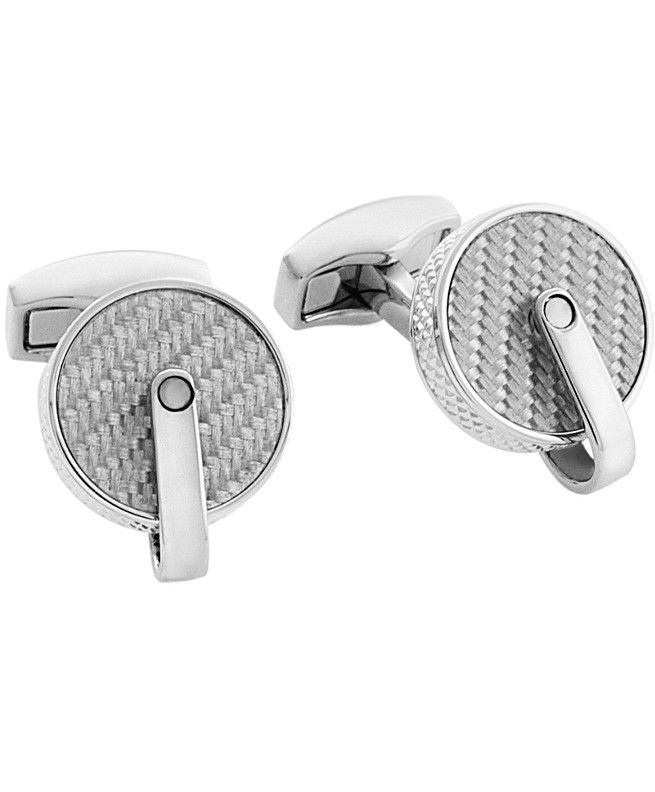 TATEOSSIAN - RT Gray Pulley Cufflinks With Grey Carbon Fibre -