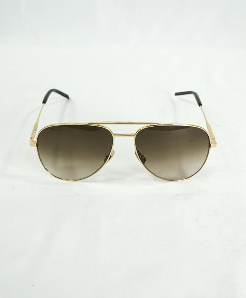 "YVES SAINT LAURENT -YSL ""Classic 11"" Gold Logo Engraved Aviators Sunglasses - 55-14 140"