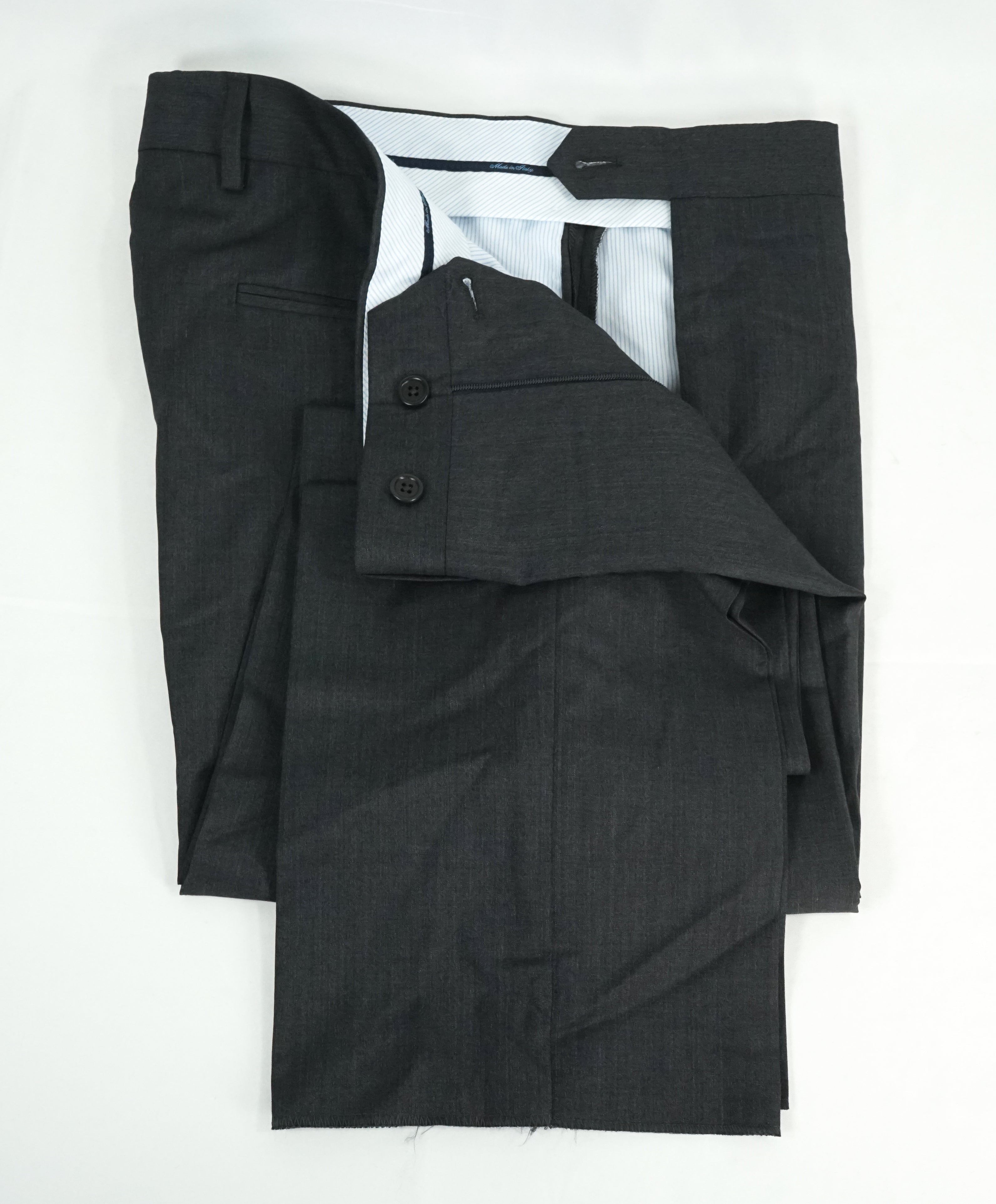 SAKS FIFTH AVE - Charcoal Wool & Silk MADE IN ITALY Flat Front Dress Pants -  32W