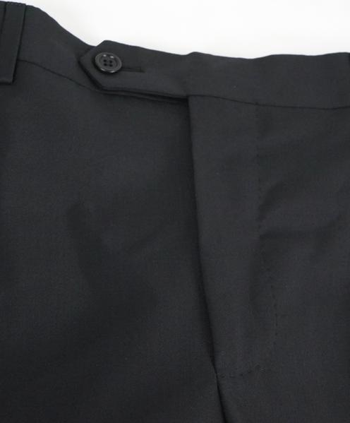 SAKS FIFTH AVE - Black Wool & Silk MADE IN ITALY Flat Front Dress Pants-  34W