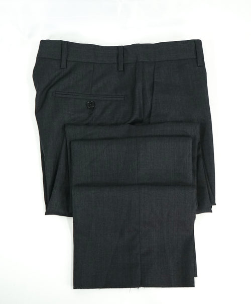 SAKS FIFTH AVE - Charcoal Wool & Silk MADE IN ITALY Flat Front Dress Pants - 30W