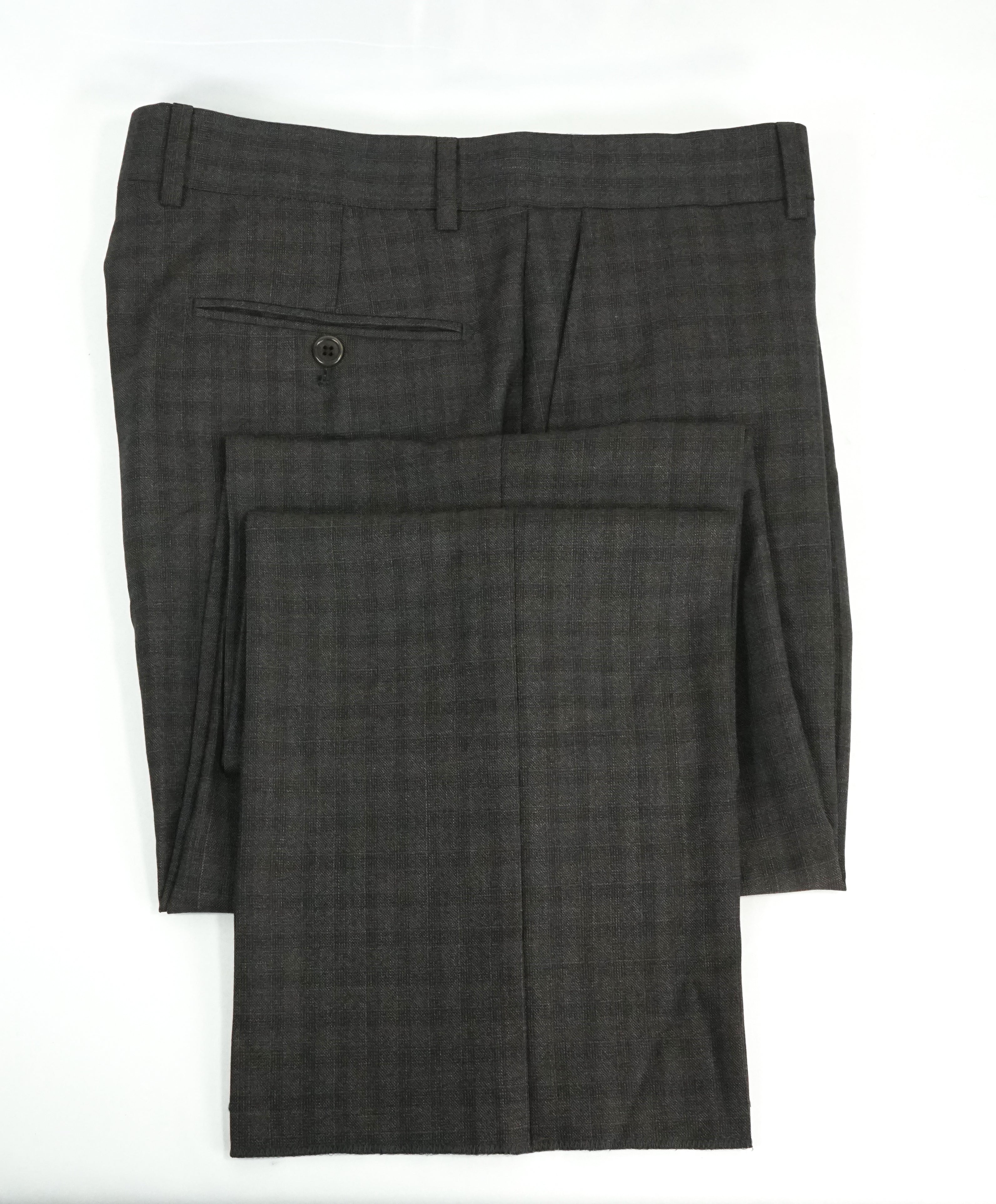 SAKS FIFTH AVE -Brown Wool MADE IN ITALY Plaid Check Flat Front Dress Pants - 34W