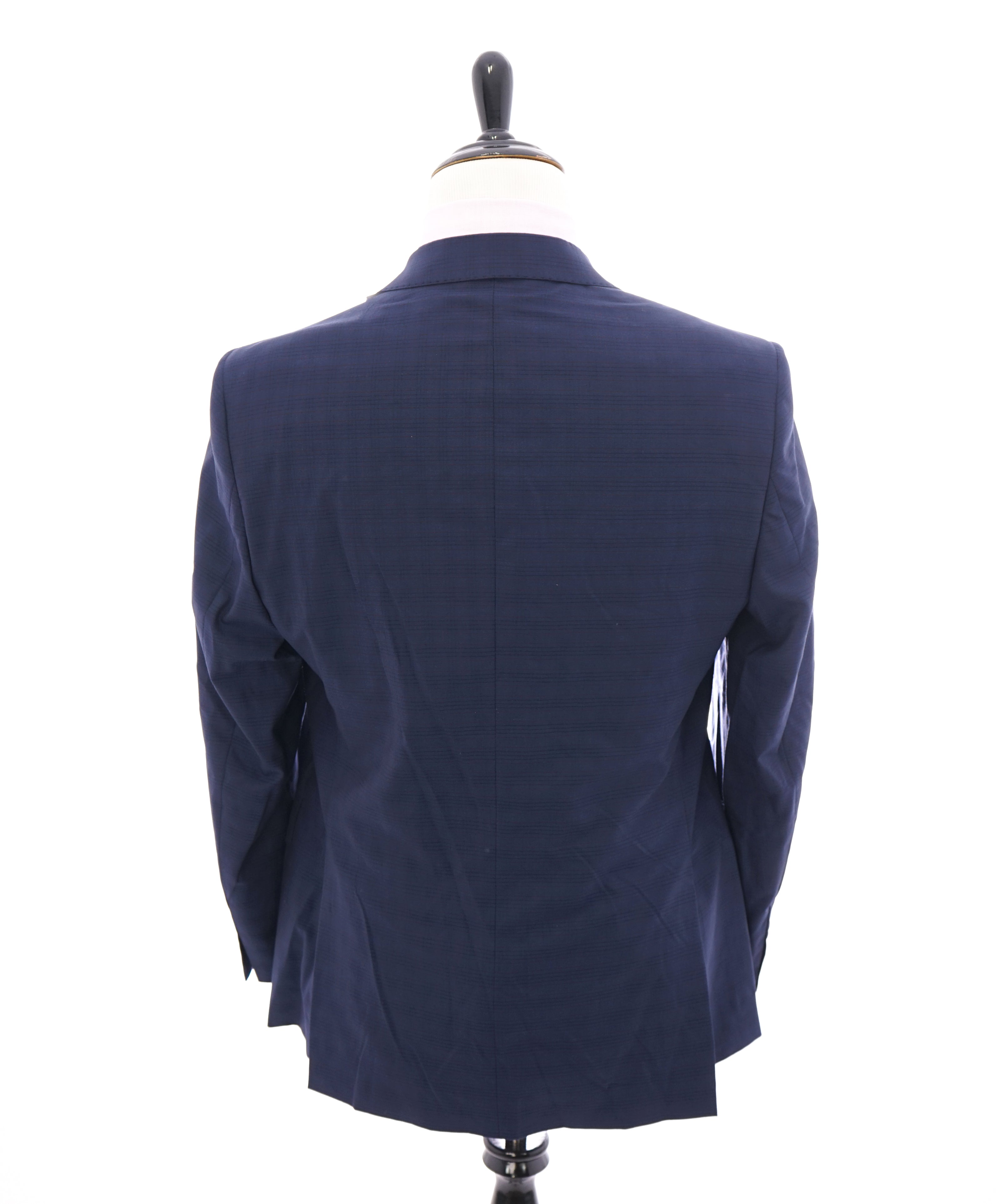 SAKS FIFTH AVENUE / ERMENEGILDO ZEGNA- Slim Medium Blue/Red Check Wool Blazer- 42R