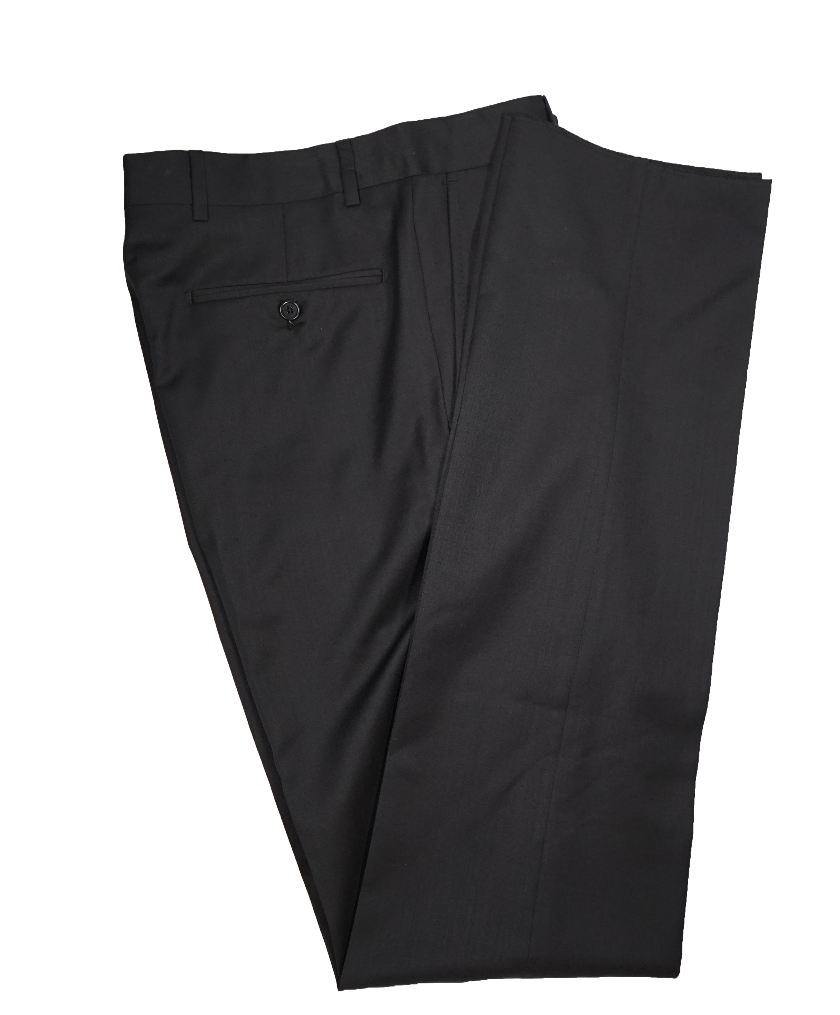SAKS FIFTH AVENUE -  Solid Black Made In Italy Dress Pants - 36W