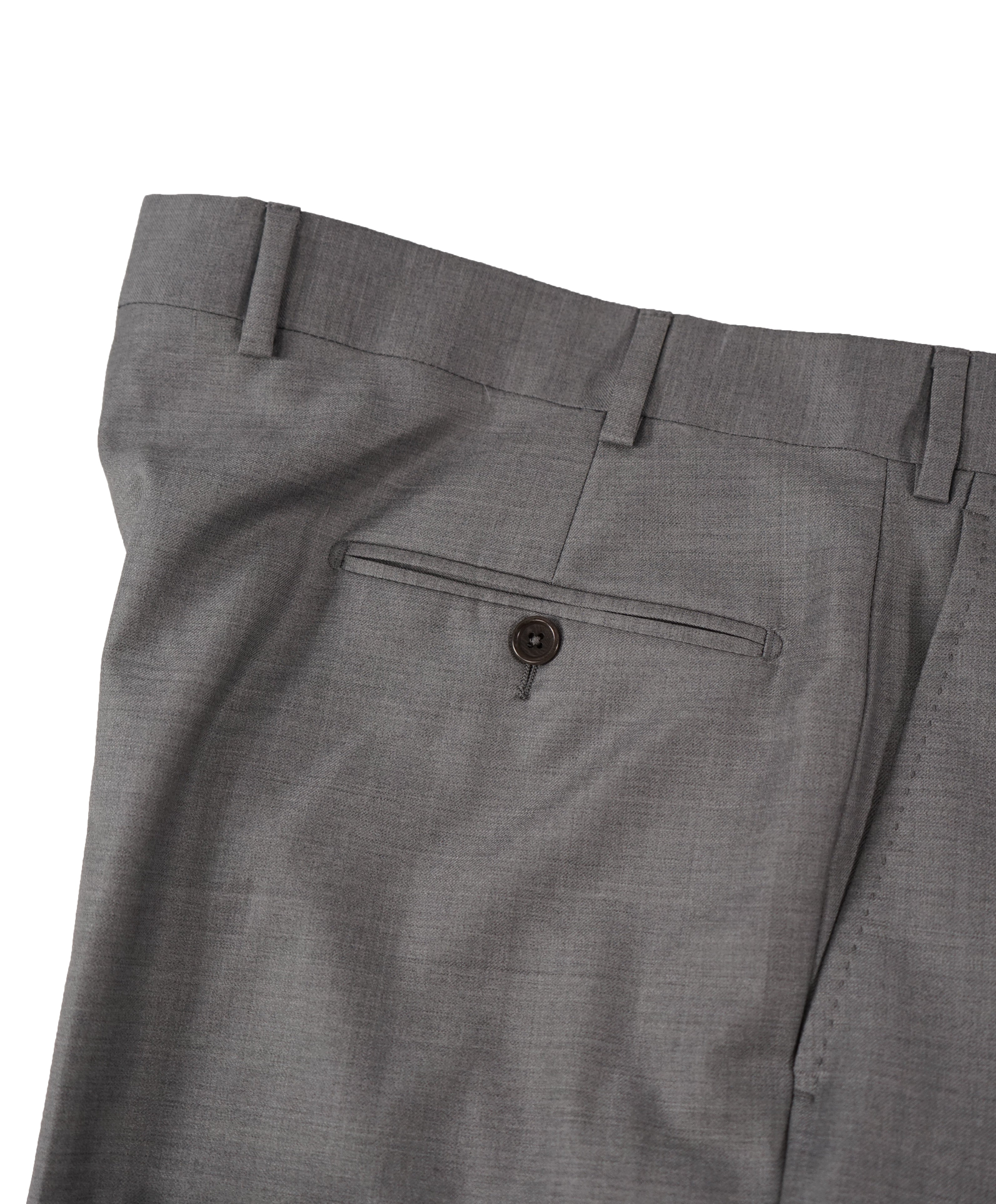 SAKS FIFTH AVE - Gray Wool MADE IN ITALY Flat Front Dress Pants - 38W