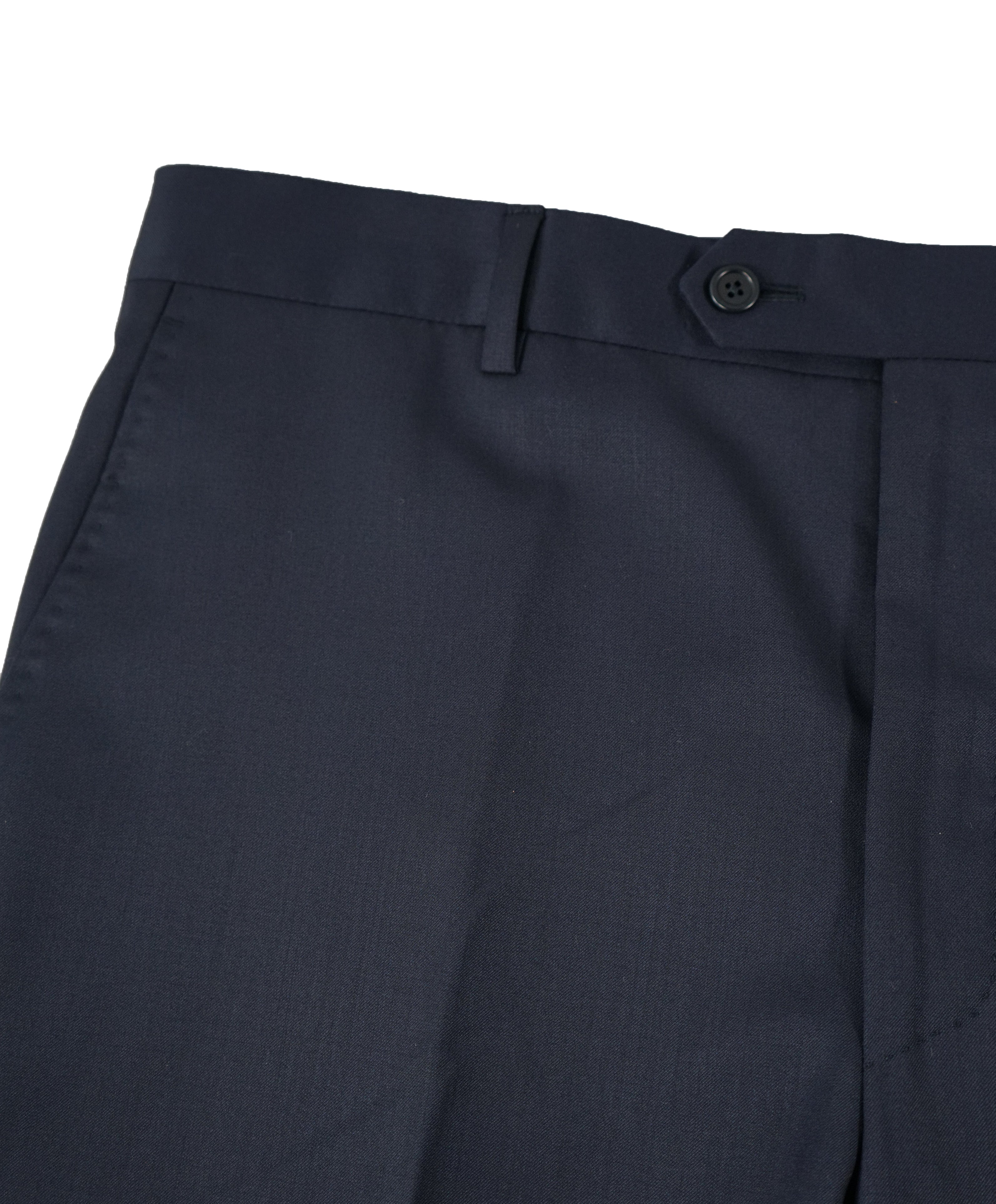 SAKS FIFTH AVE - Navy Wool / Silk MADE IN ITALY Flat Front Dress Pants - 30W