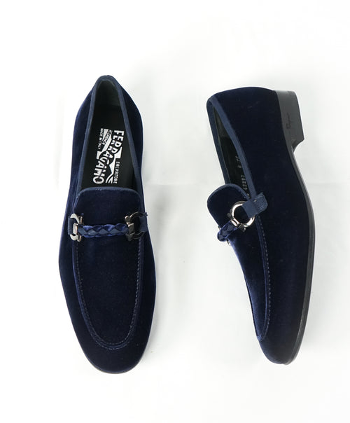 "SALVATORE FERRAGAMO -""Roman"" Blue Velvet Braided Gancini Bit Loafer - 6EE"