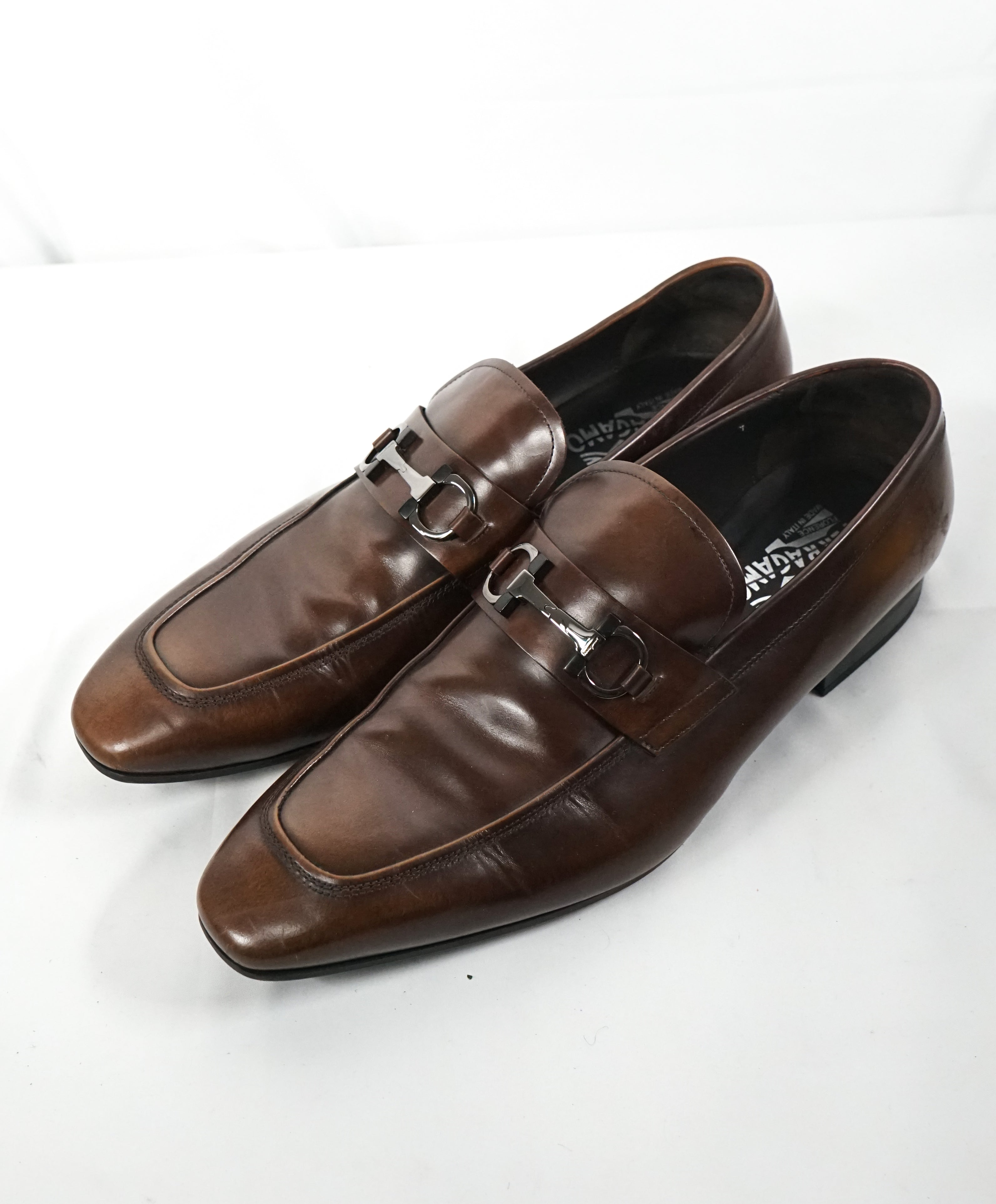"SALVATORE FERRAGAMO - ""Dinamo"" 2 Tone Gancini Bit Brown Leather Loafers - 13 EE"