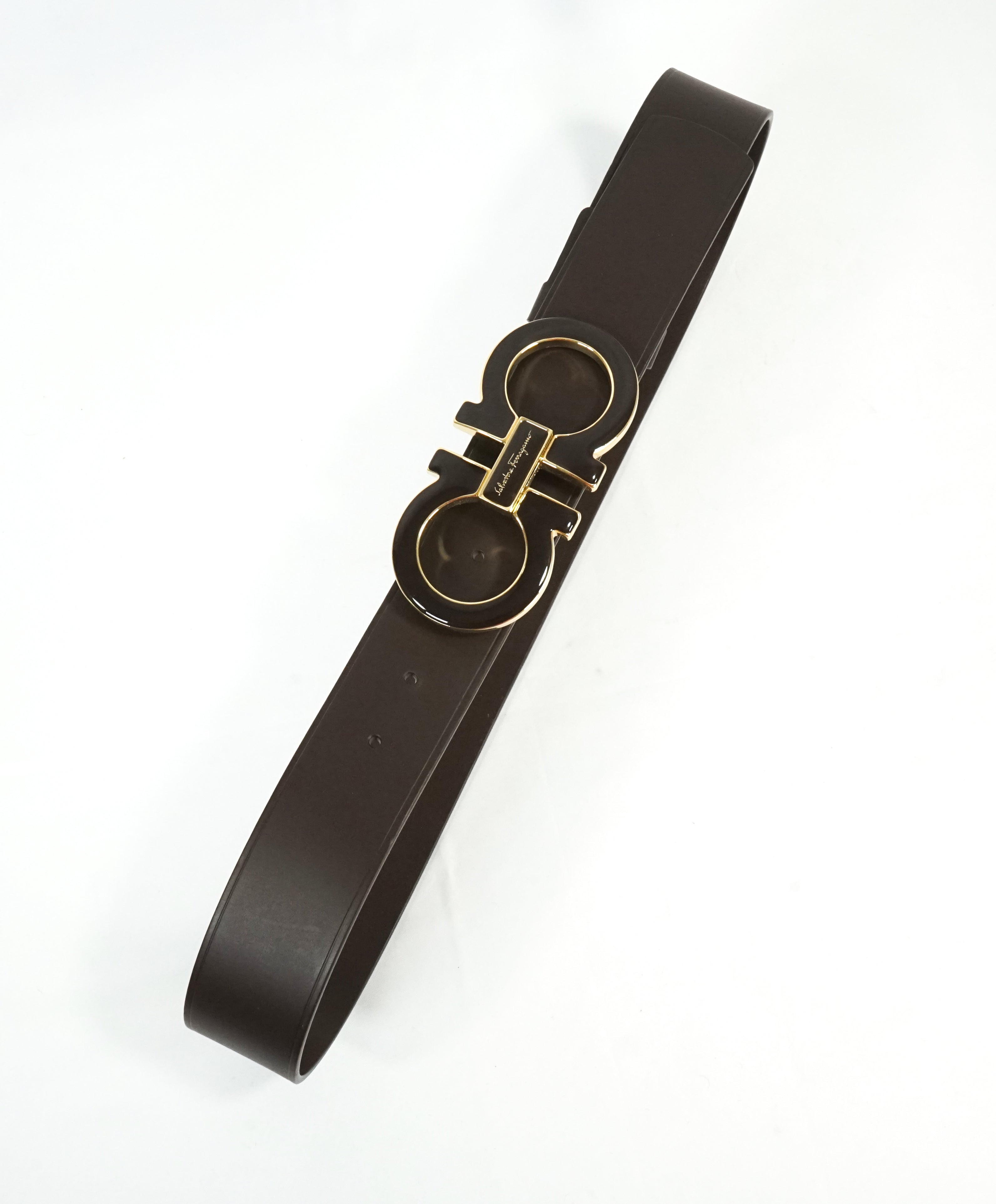 SALVATORE FERRAGAMO - Brown & Gold Enamel Oversized Leather Gancini Belt - 36W