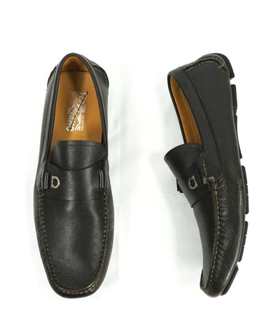"SALVATORE FERRAGAMO - ""Benson"" Burnished Leather Loafers Engraved - 7.5 E"