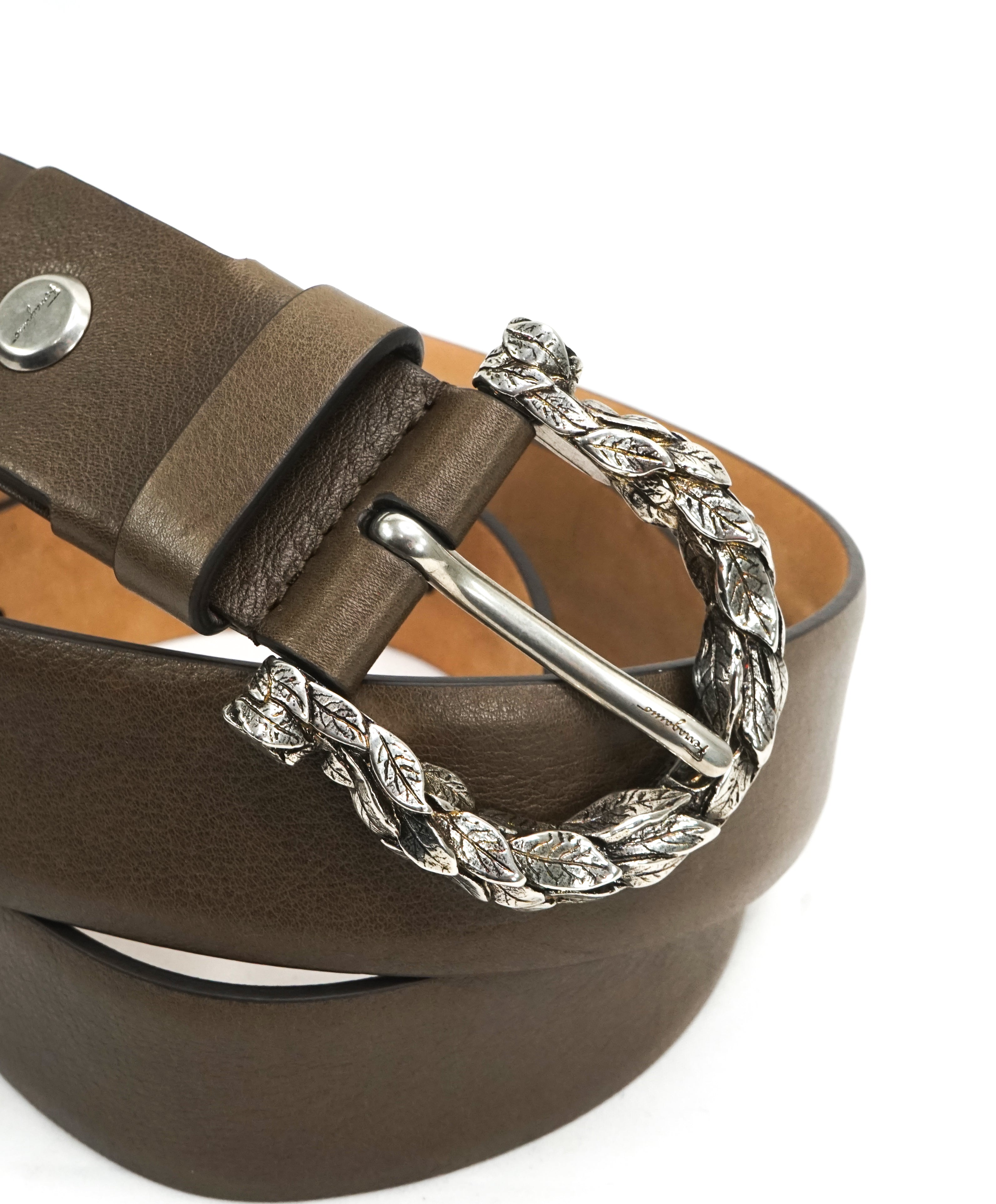 SALVATORE FERRAGAMO - Feather Engraved Olive Tone Leather Gancini Belt - 38W