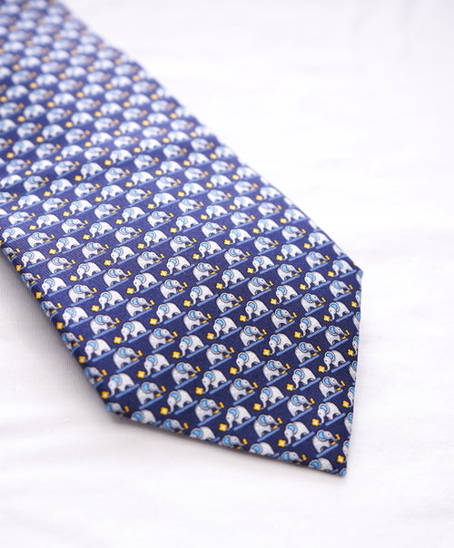 SALVATORE FERRAGAMO -Navy & Yellow Elephant Print Tie  -
