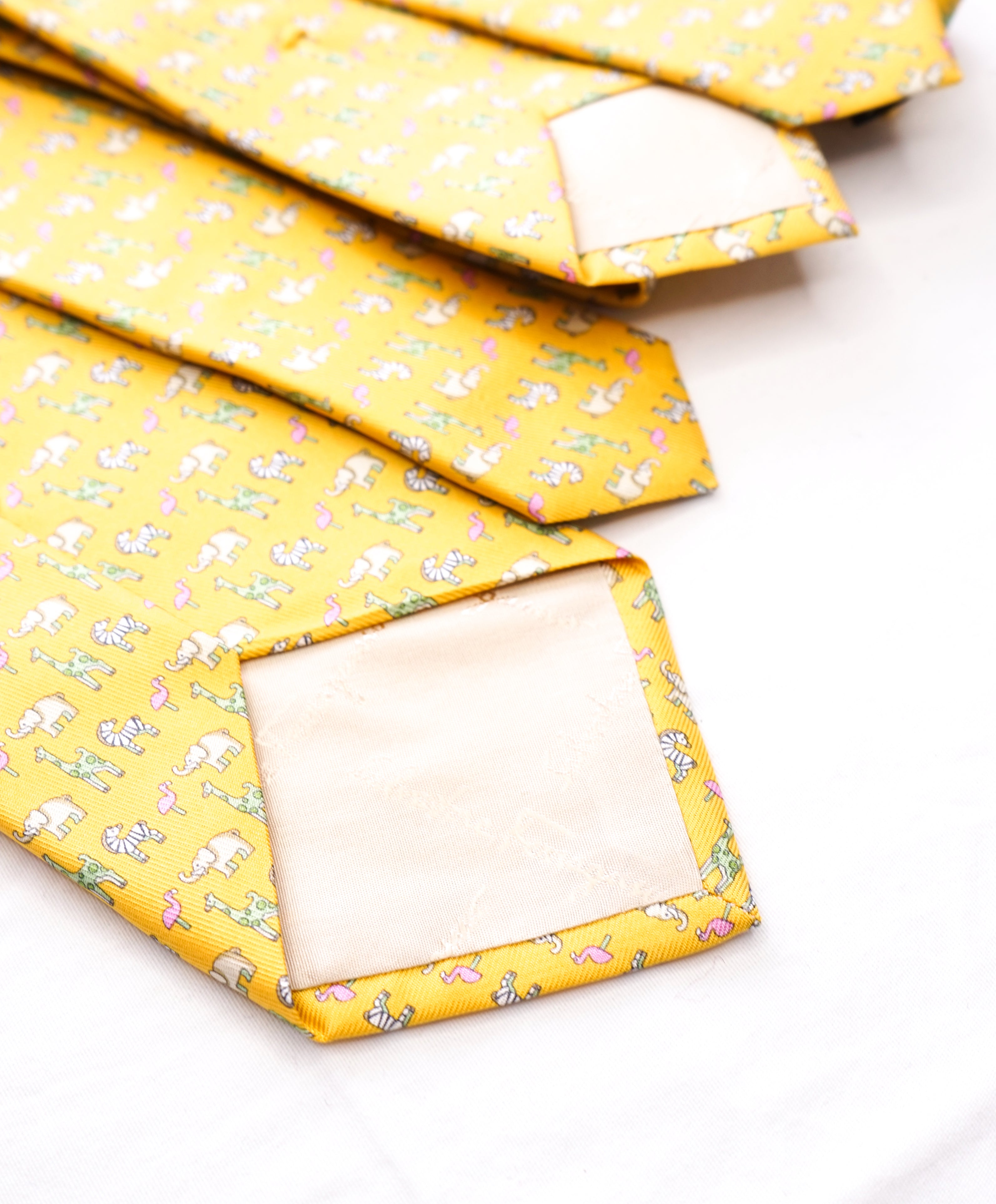 SALVATORE FERRAGAMO  - *Father & Son Set* Yellow Elephant Tie  -