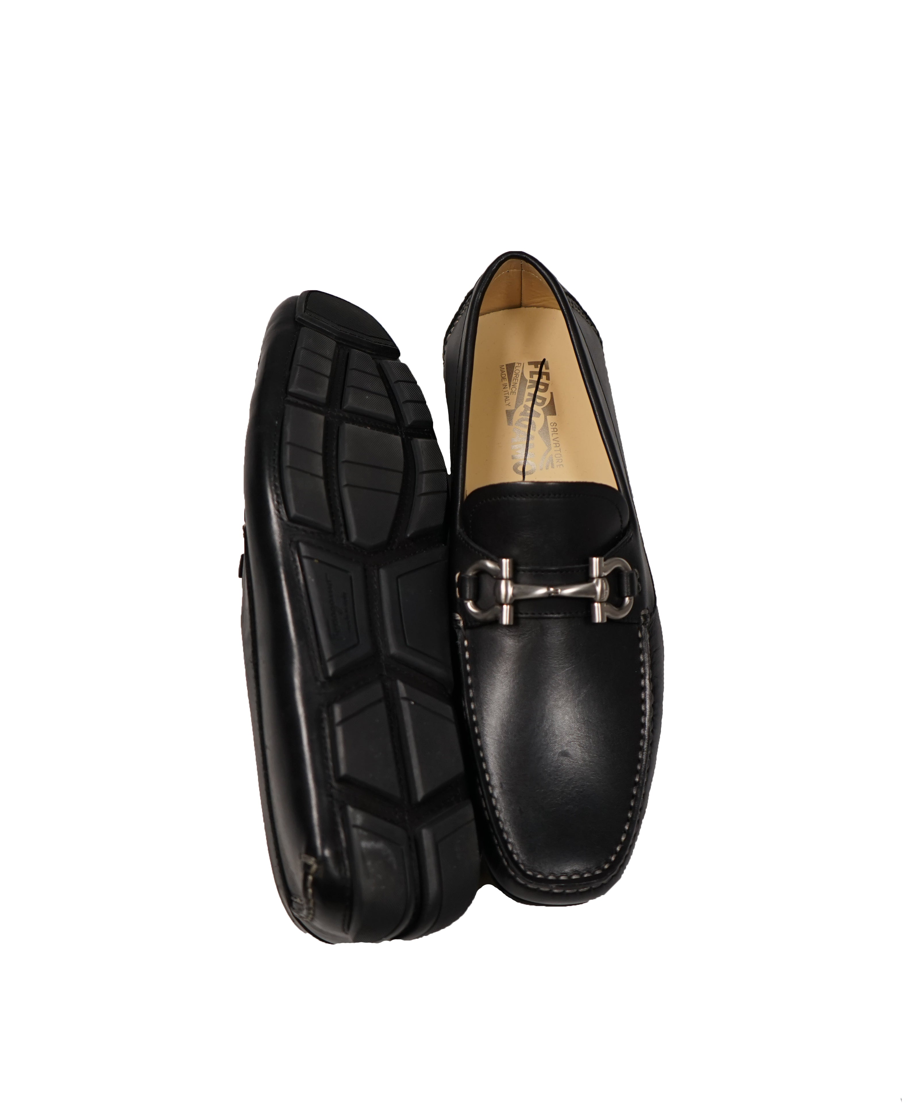 SALVATORE FERRAGAMO - Black Parigi Gancini Logo Loafers  - 8/8.5D
