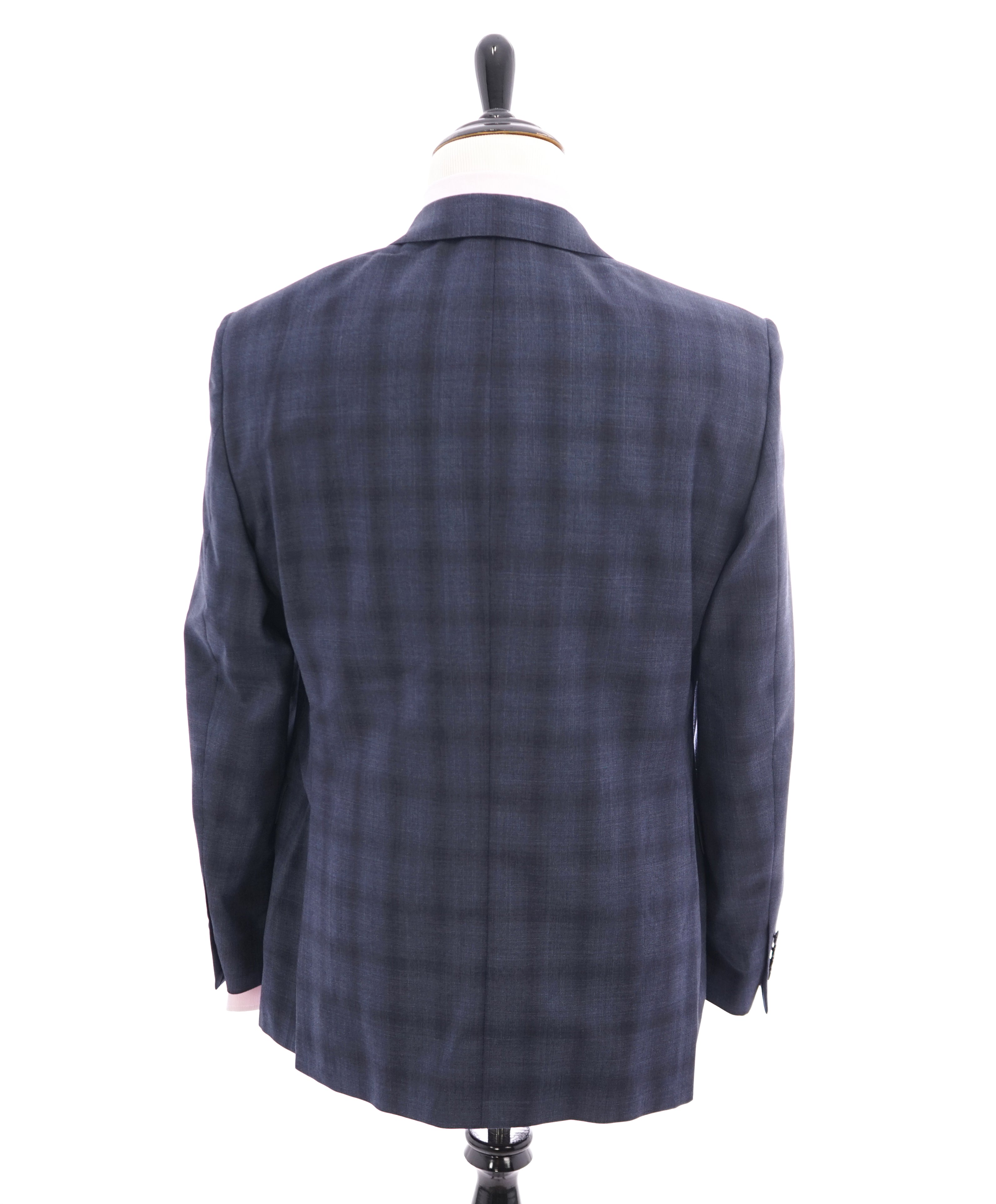 SAMUELSOHN  - Notch Lapel Super 130's Bold Blue Check Plaid Suit -  42R