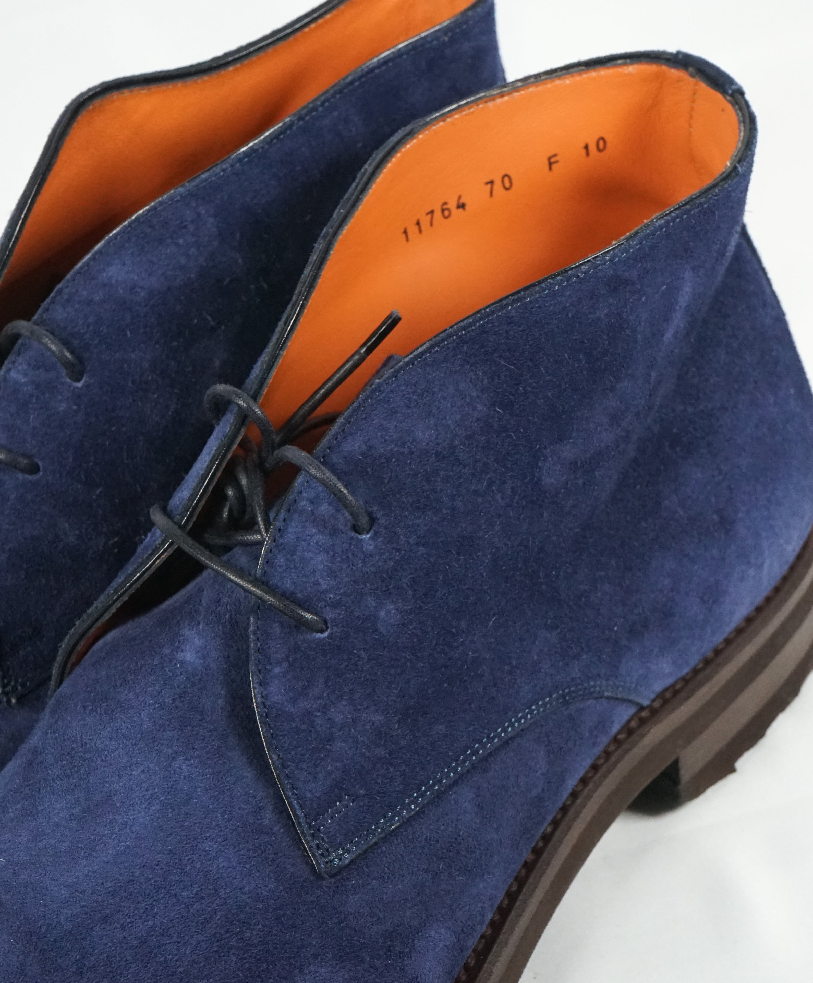 "SANTONI - Powder Blue Suede Chukka Ankle Boots ""GOODYEAR WELT"" - 11"