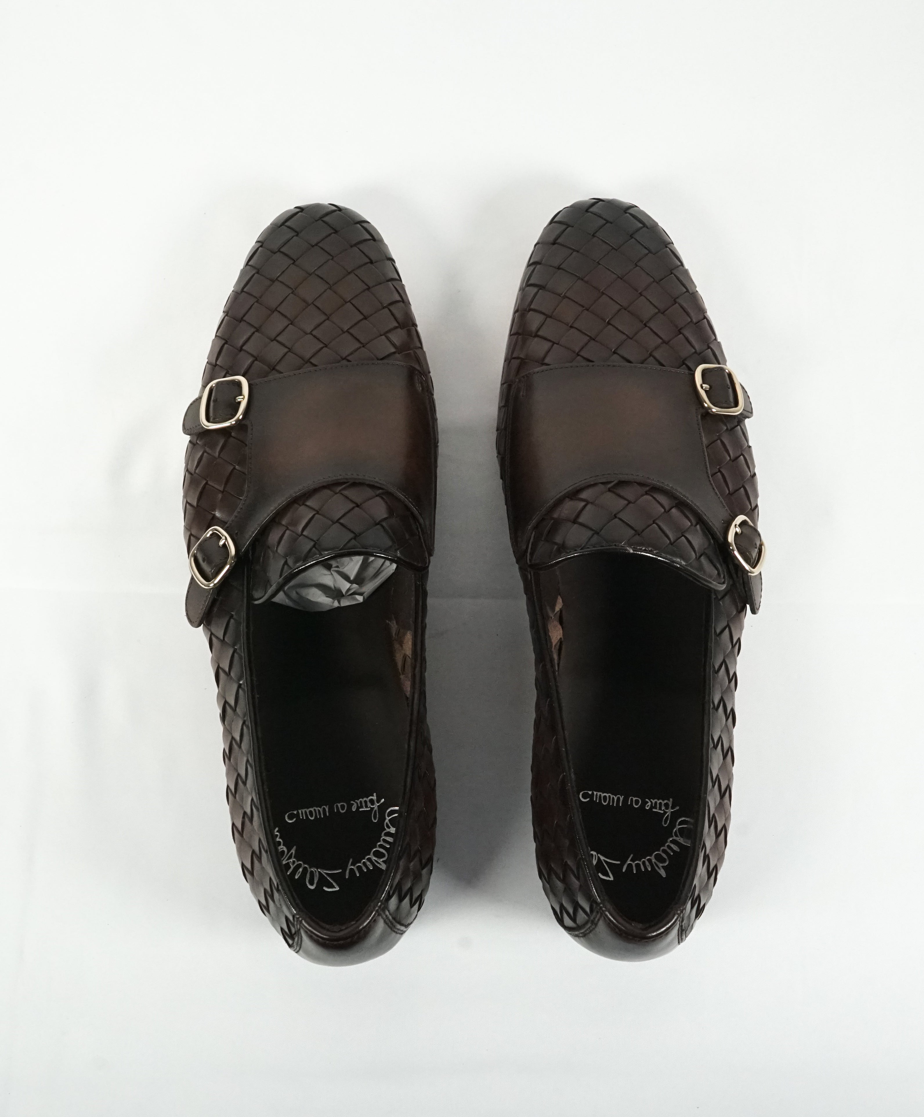 SANTONI - Brown Hand Antiqued Woven Leather Monk Strap Loafers- 10.5