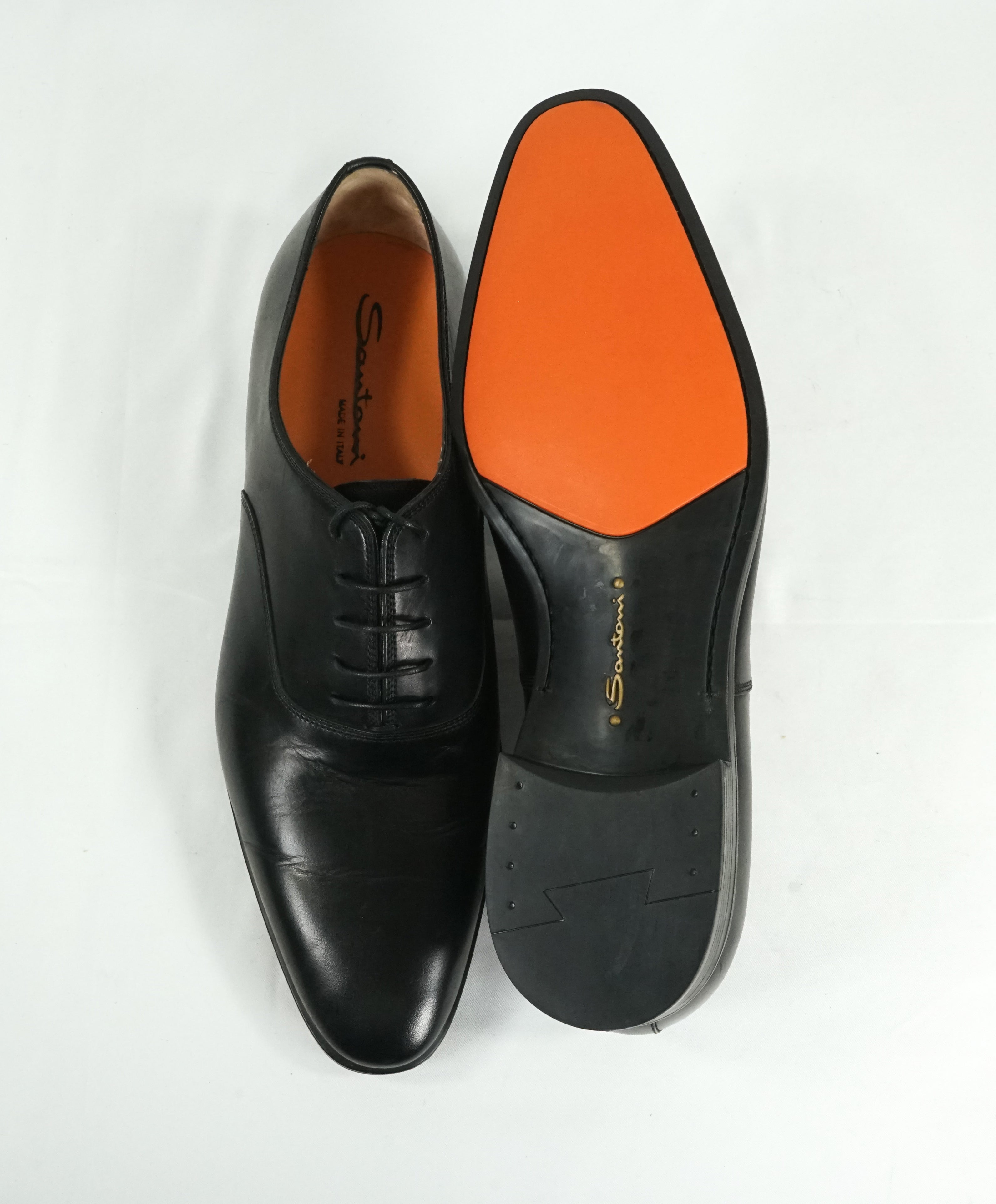 "SANTONI - ""Fenwick"" Black Plain Vamp Slim Oxfords Orange Sole - 12"