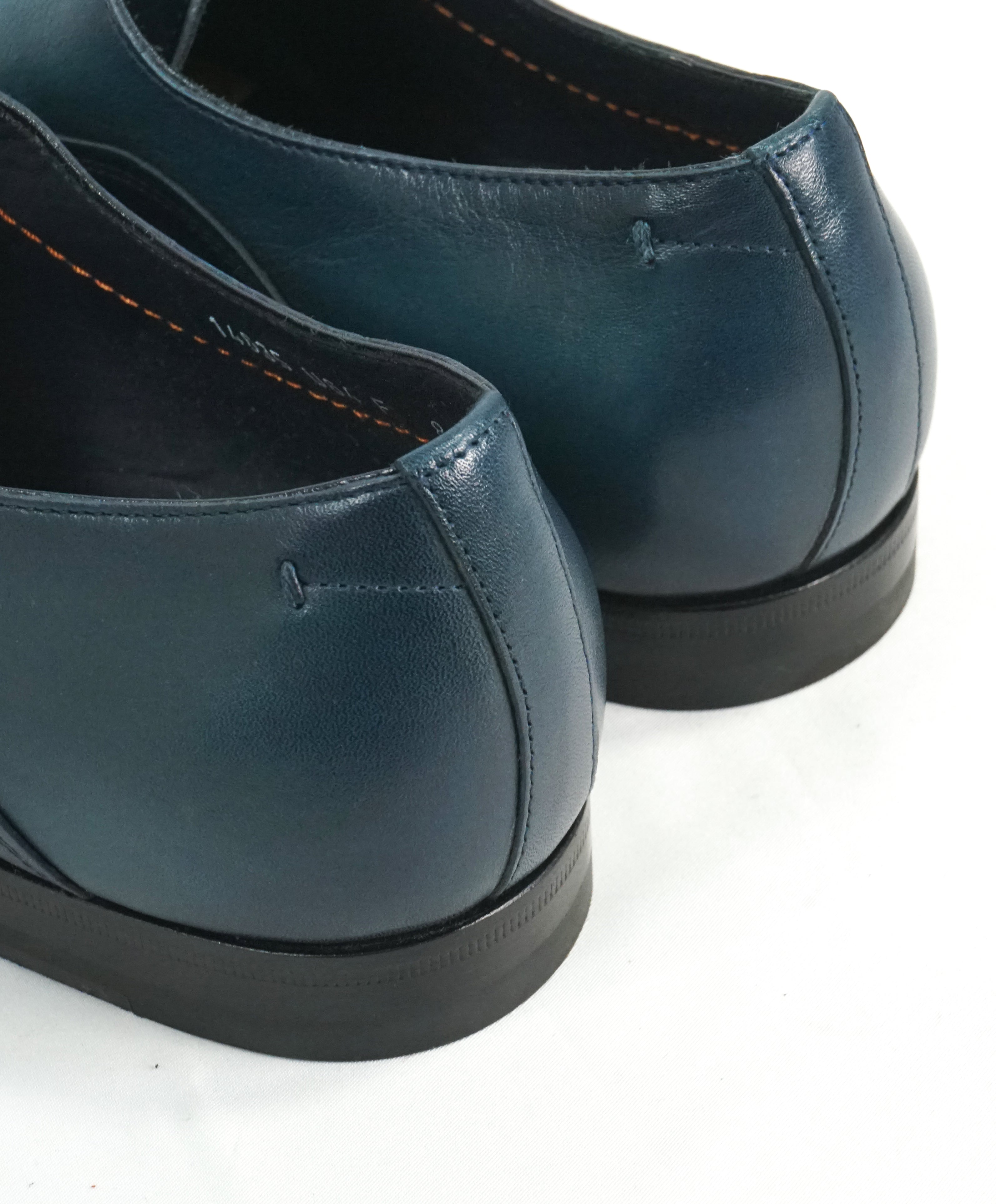 "SANTONI - ""Fatte A Mano"" Hand Made Turquoise Unlined Venetian Oxford - 9"