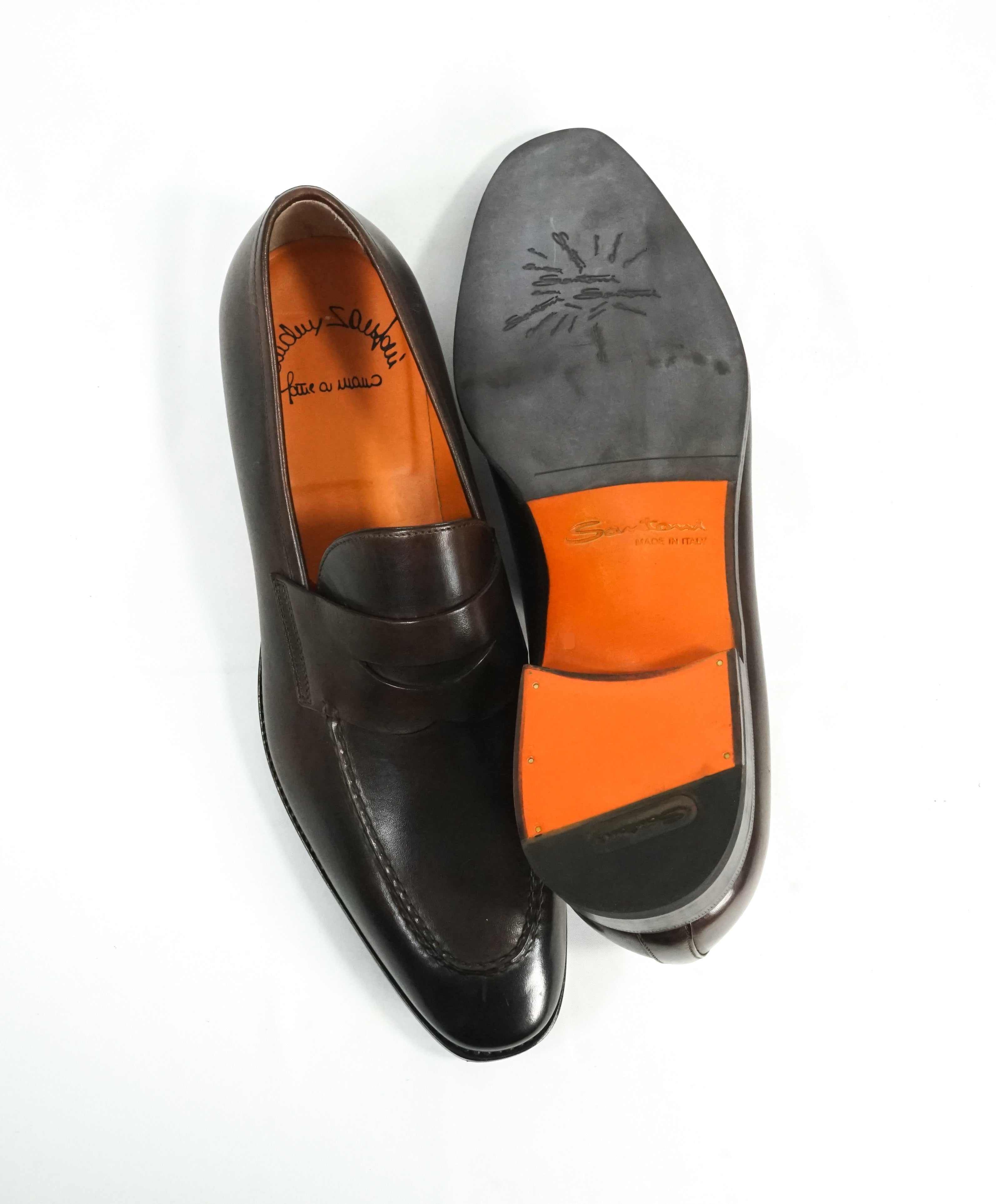 "SANTONI - ""Fatte A Mano"" Hand Made Round Toe Penny Loafers - 10"