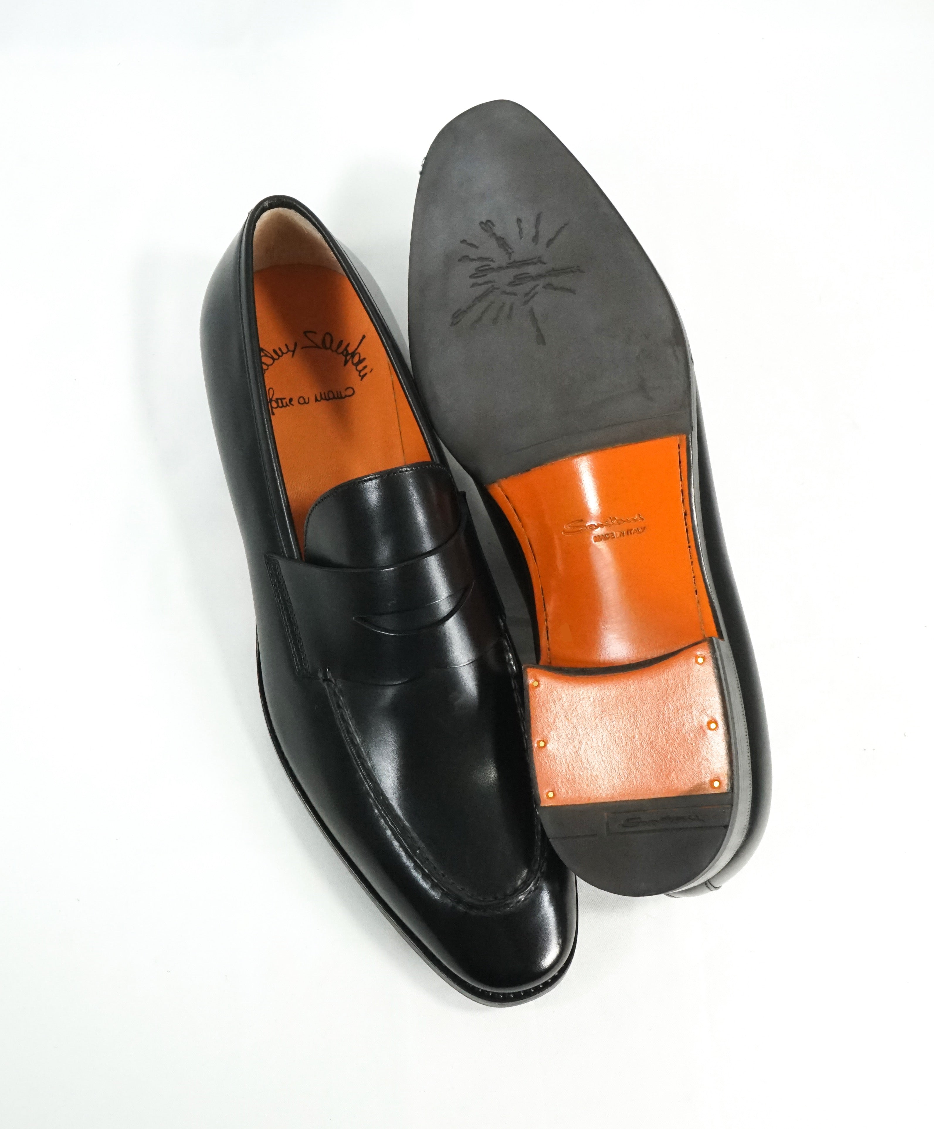 "SANTONI - ""Fatte A Mano"" Hand Made Black Round Toe Penny Loafers - 10.5"
