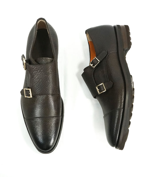 "SANTONI - ""GOODYEAR WELT"" Mixed Pebbled & Grain Leather Monk Strap Loafers - 10.5"
