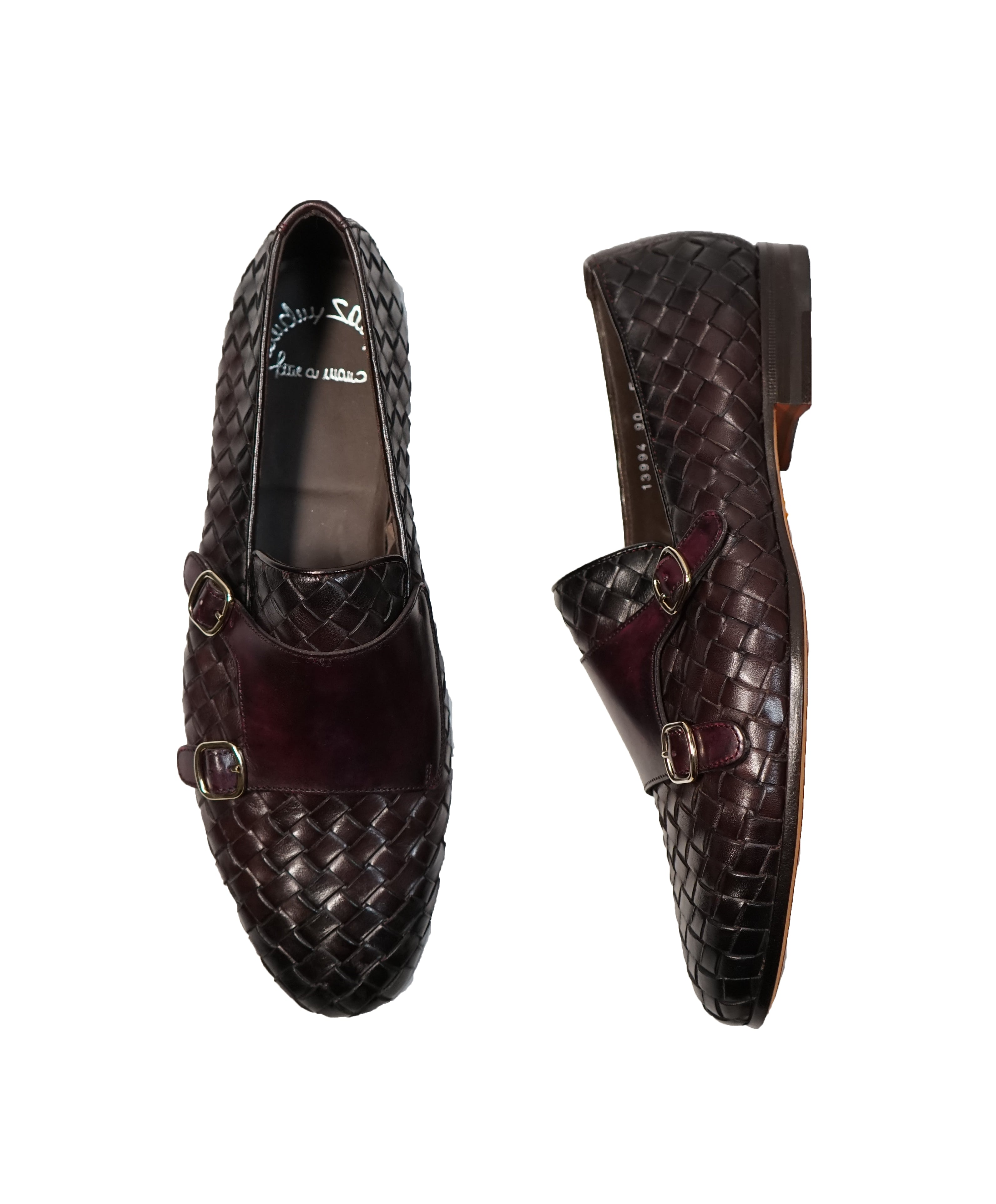 SANTONI - Hand-Antiqued Woven Leather Monk Strap Loafers - 9.5