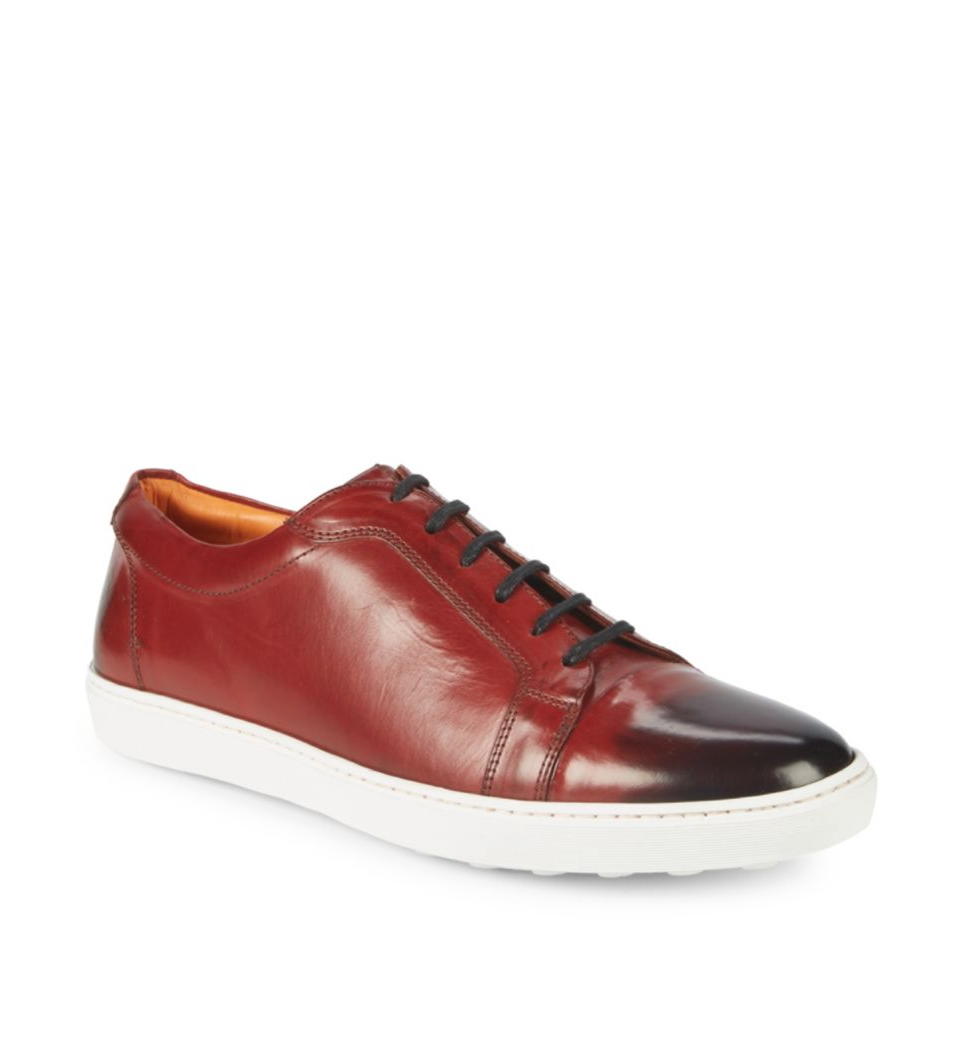"NETTLETON - ""Parma"" Leather Low-Top Sneakers Hand Patina Red - 43EU (10US)"