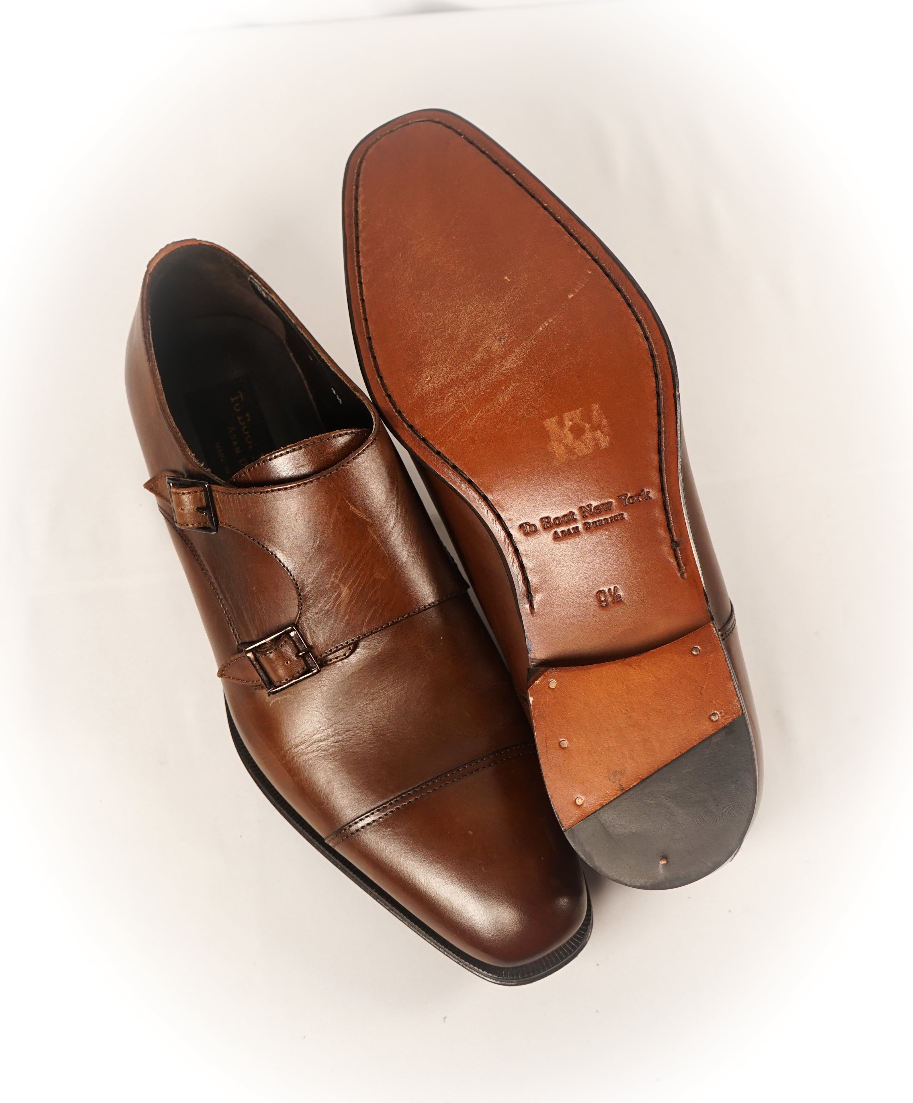 "TO BOOT NEW YORK - ""Grant"" Double Monk Strap Loafers Brown Loafers - 9.5"