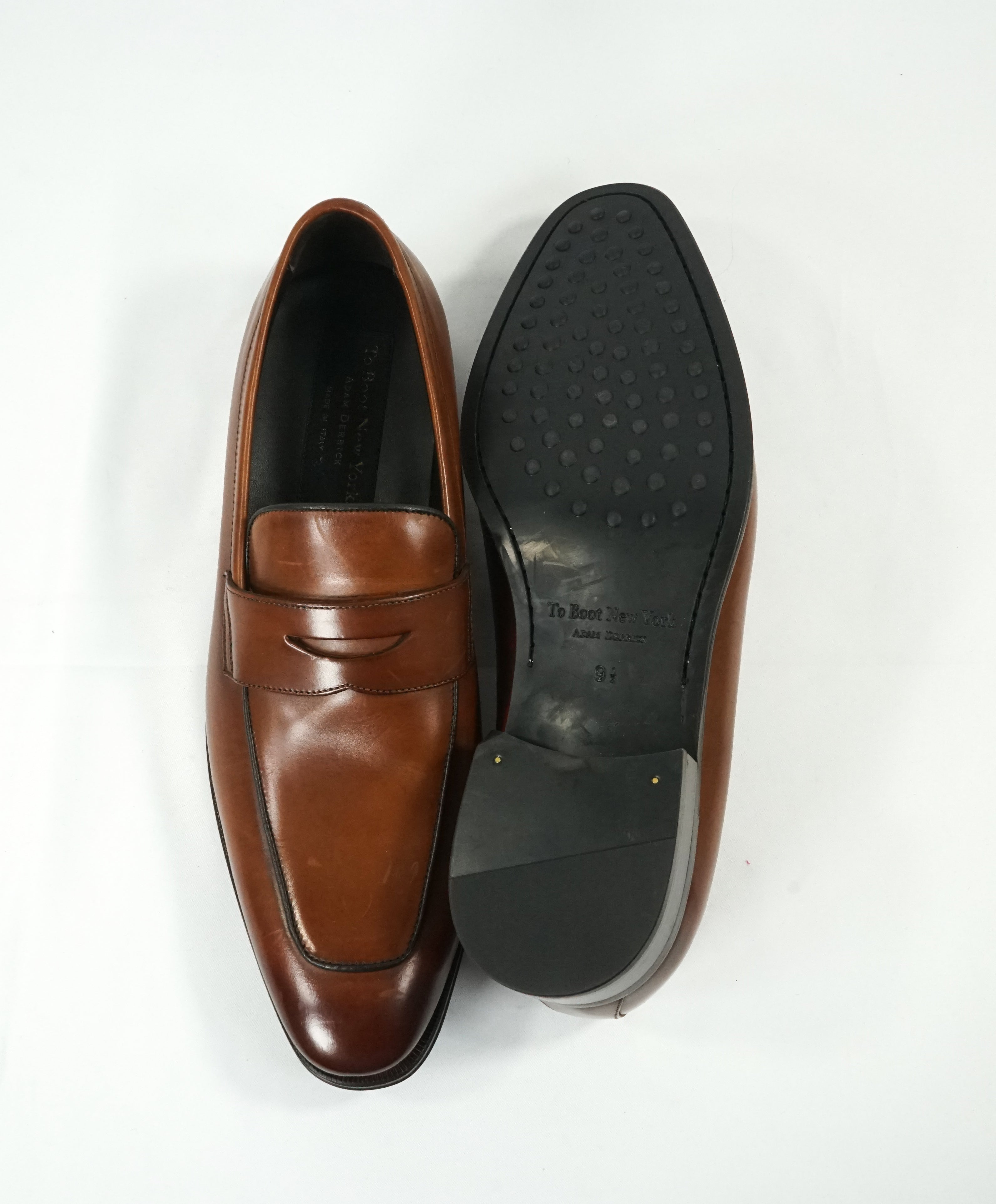 "TO BOOT NEW YORK - ""Dupont"" Brown Premium Grade Leather Penny Loafers - 9.5"