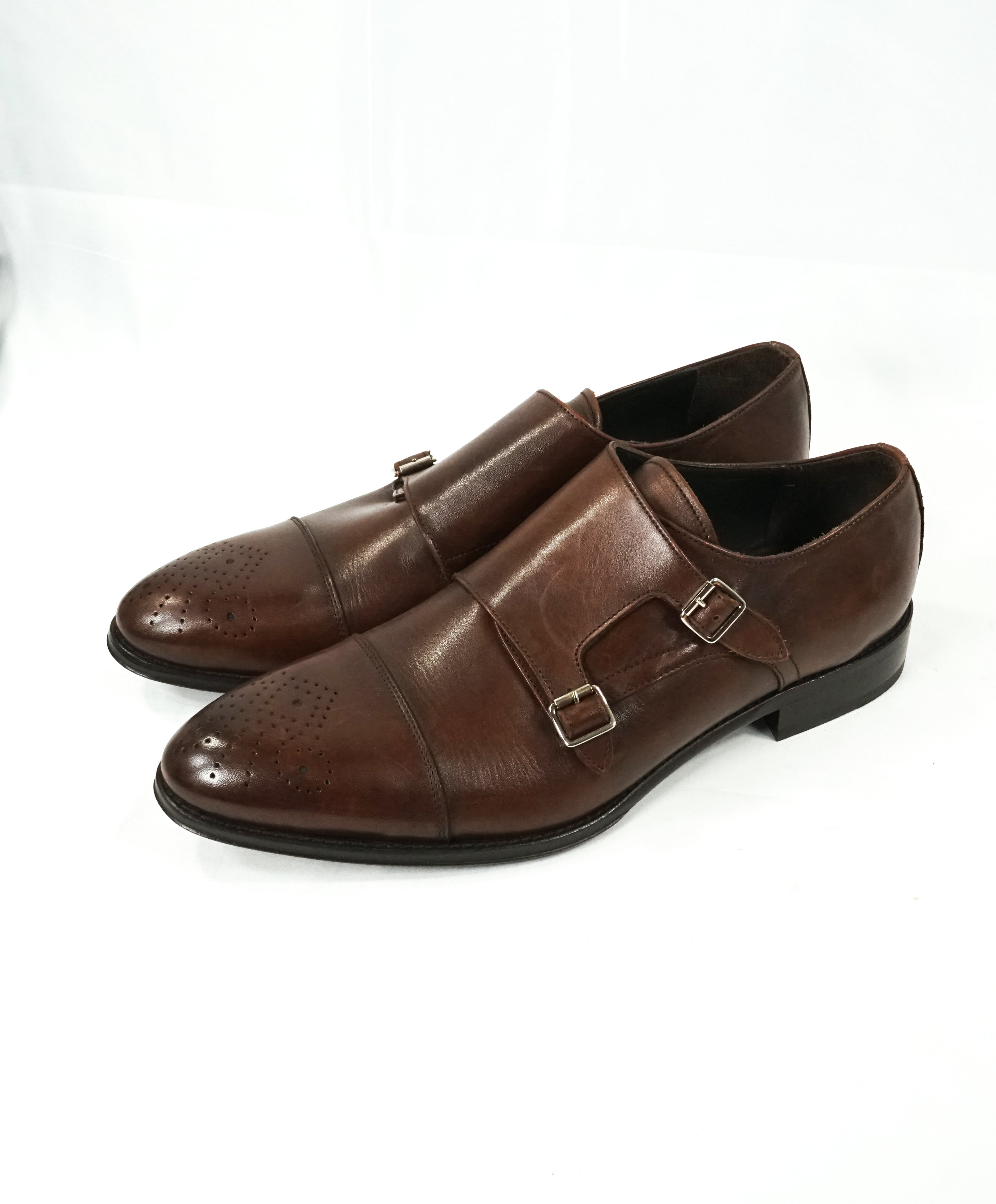 TO BOOT NEW YORK - Double Monk Strap Loafers Brown Brogue Round Toe - 13